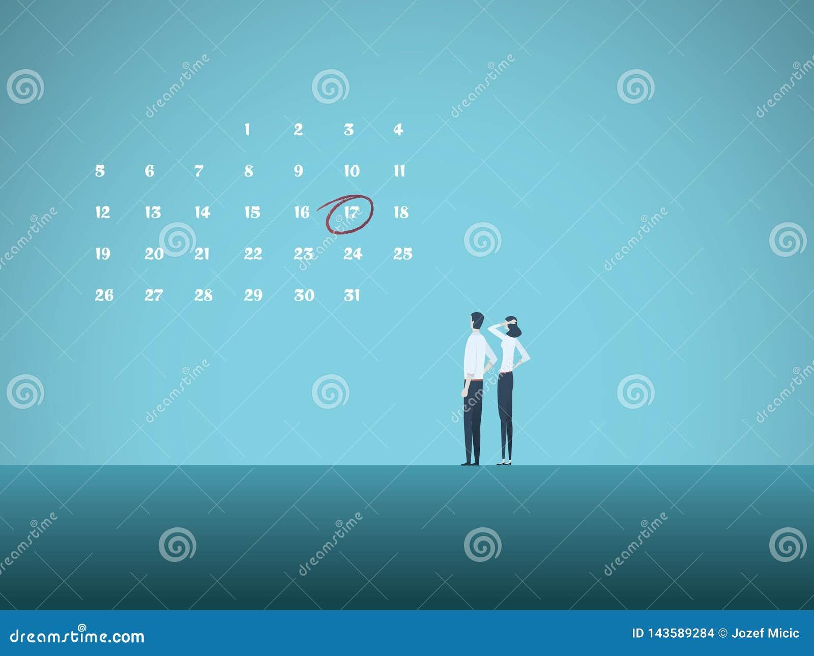 企业最后期限与看日历的男人和妇女的传染媒介概念 项目管理,里程碑的标志