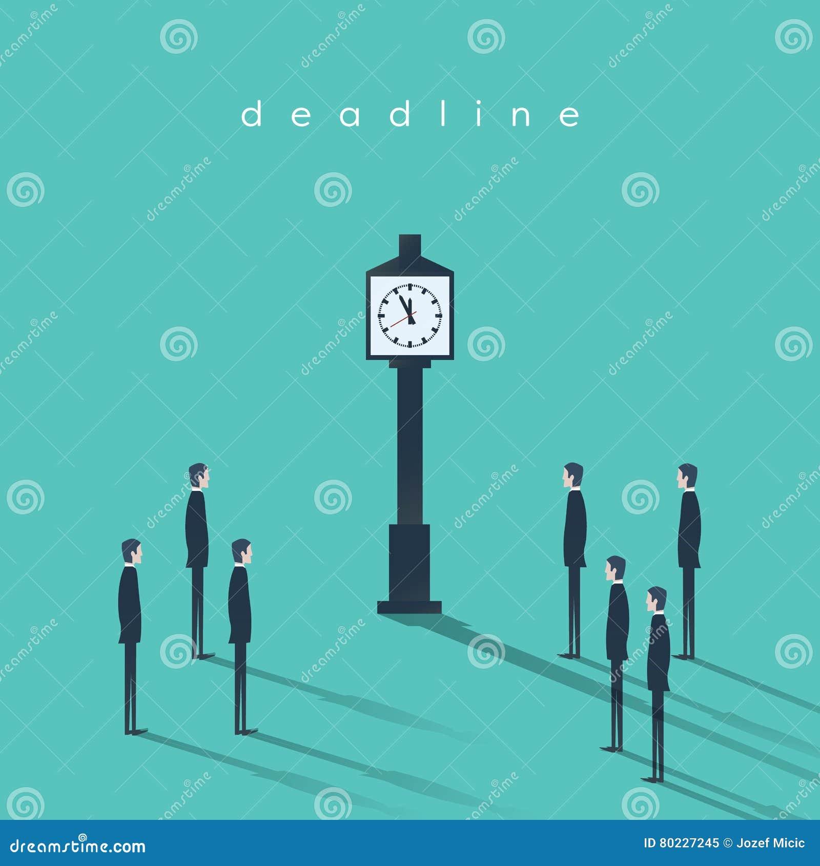 企业最后期限概念与商人和时钟的传染媒介背景 项目管理摘要例证