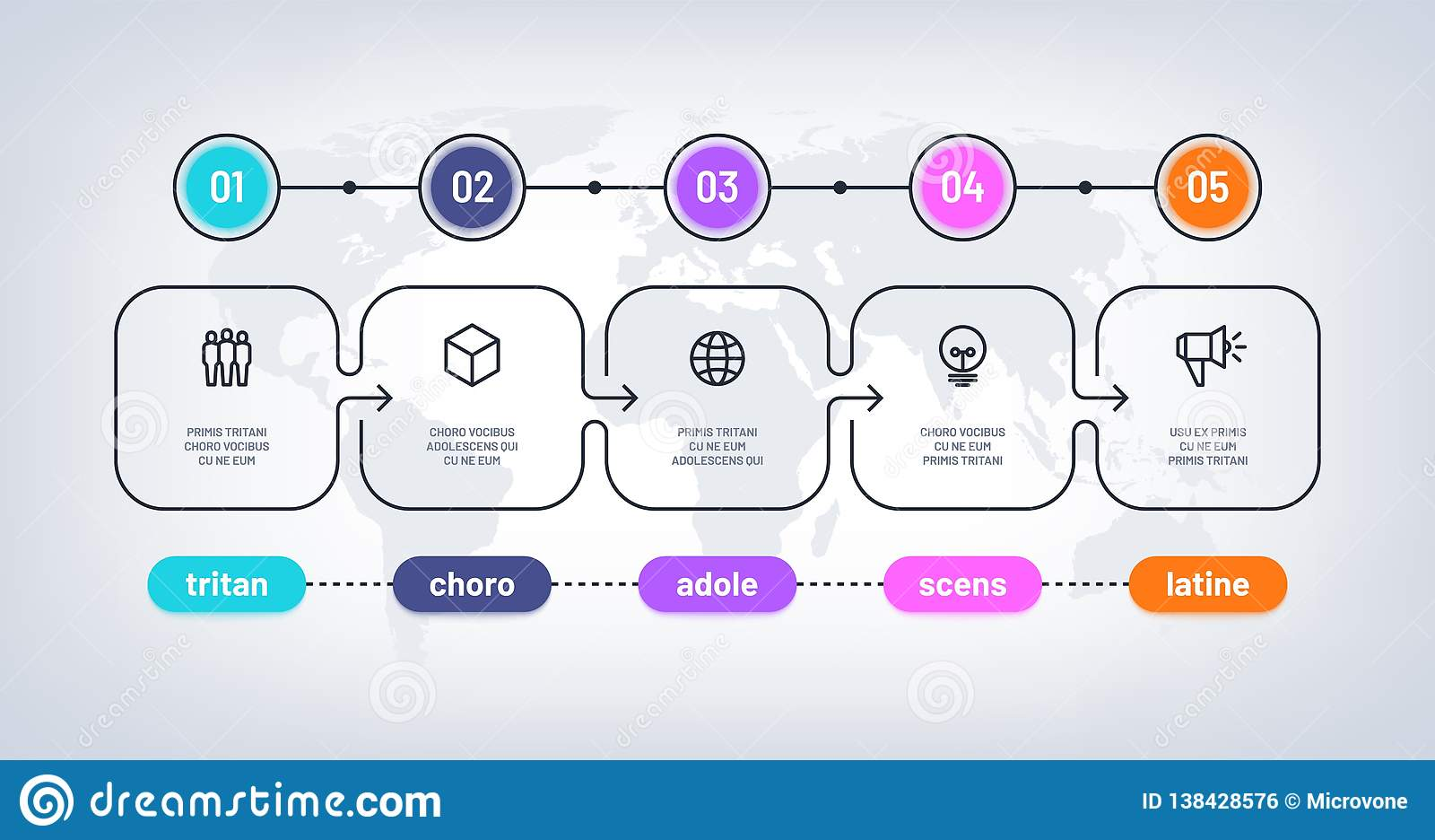 企业流程图 与里程碑步pesentation历史图的时间安排 Infographic任意传染媒介图