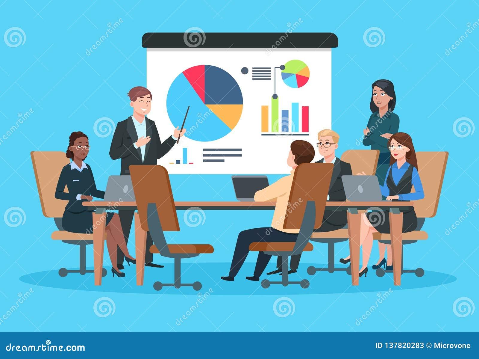 企业生意人cmputer服务台膝上型计算机会议微笑的联系与使用妇女 介绍会议的平的人 在infographic项目的战略的商人 队研讨会