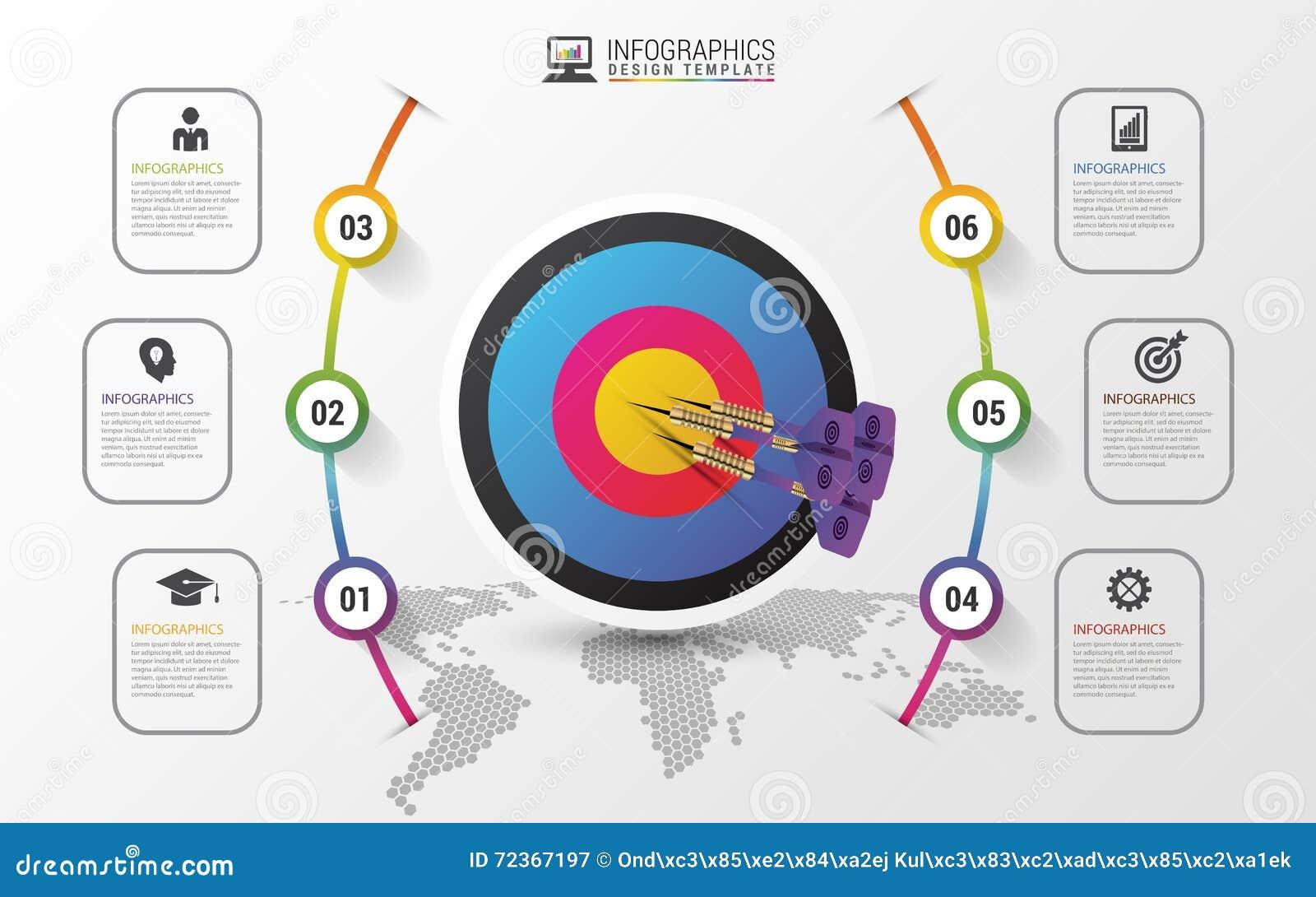 企业目标销售概念 Infographics模板 向量