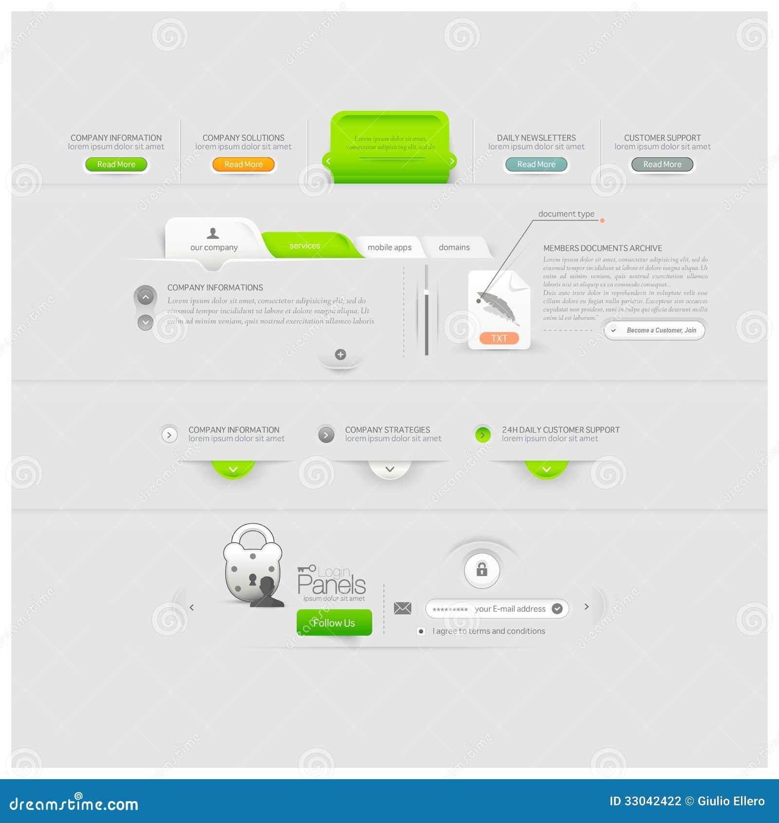 企业网站模板设计与象的菜单元素