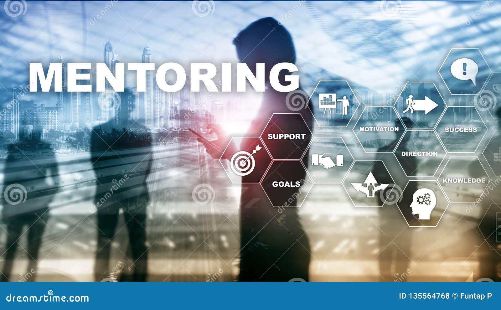 企业良师 个人教练 训练个人发展概念 混合画法