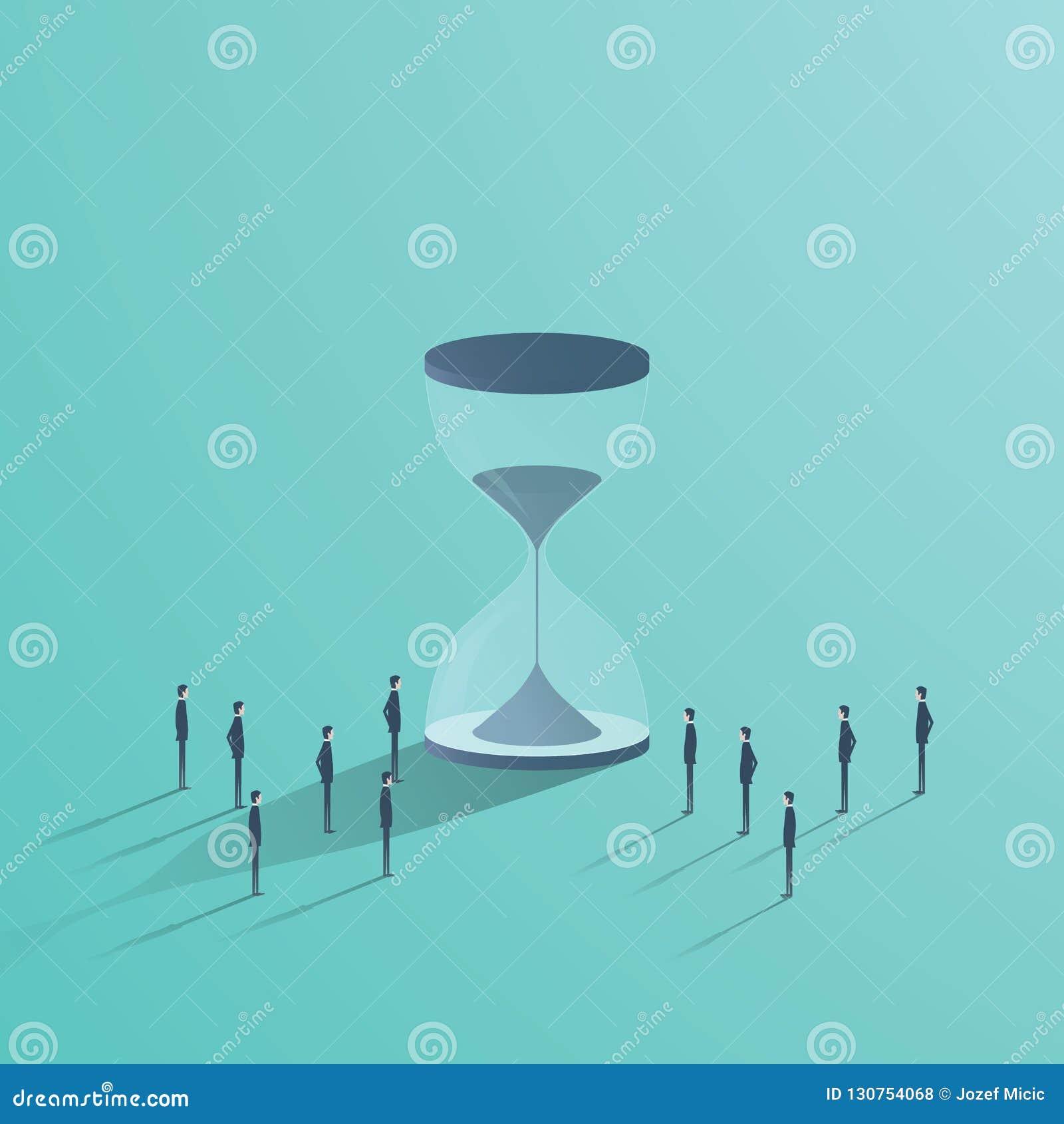 企业配合和时间传染媒介概念 站立在滴漏,最后期限,项目管理的标志附近的商人