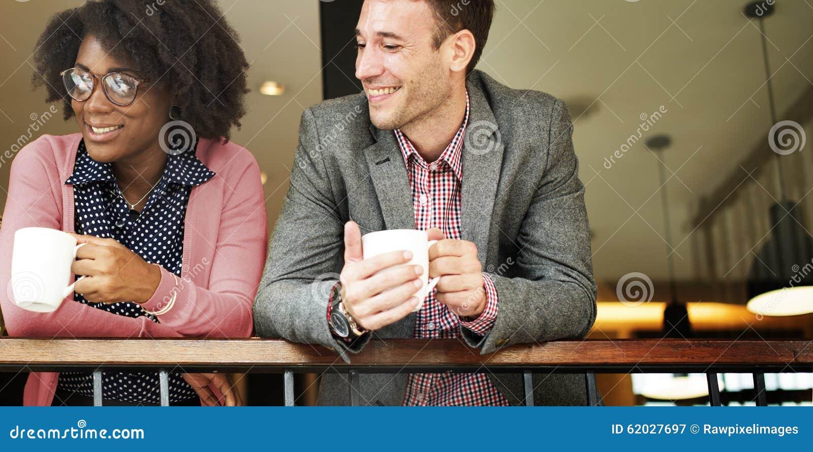 企业队咖啡休息放松概念