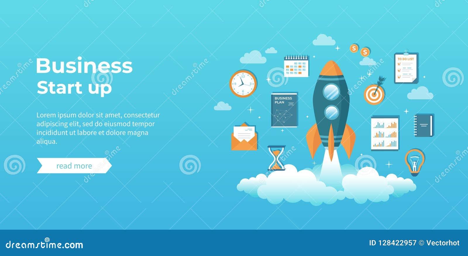企业项目起动、财政规划、想法、战略、管理、认识和成功 与文件的火箭队发射