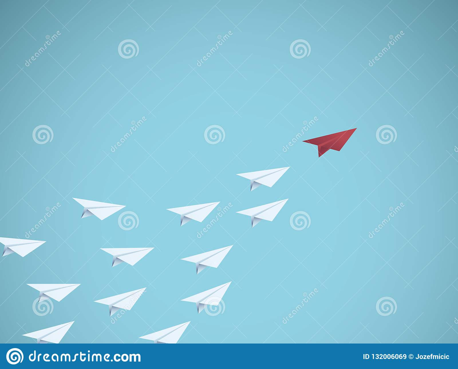 企业领导与红色纸平面领导的传染媒介概念 管理,配合,企业成功的标志