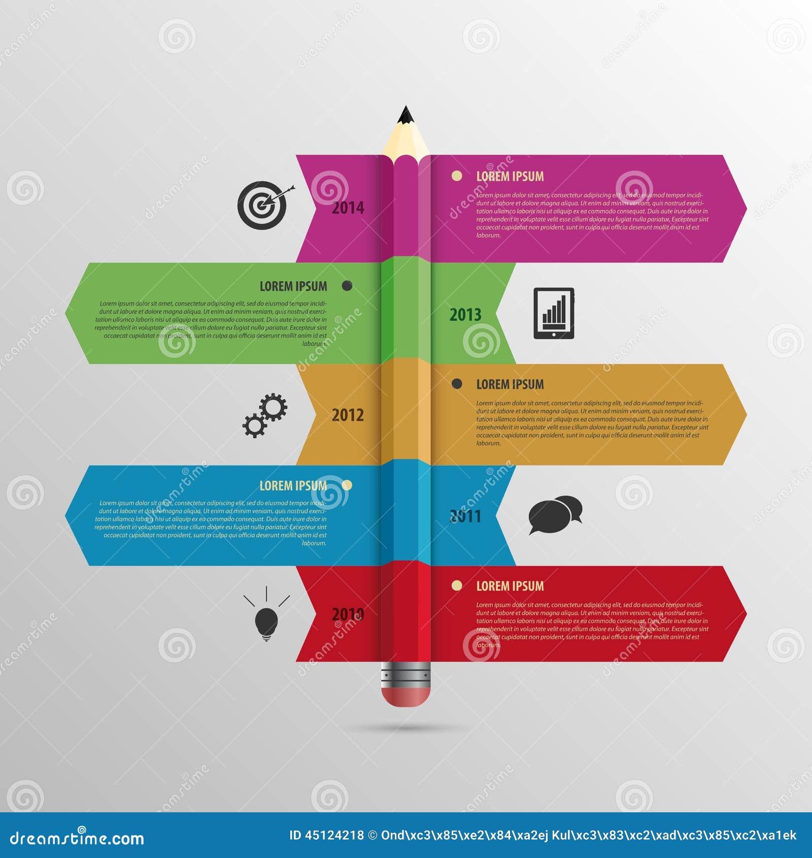企业Infographic与铅笔和象的时间安排模板