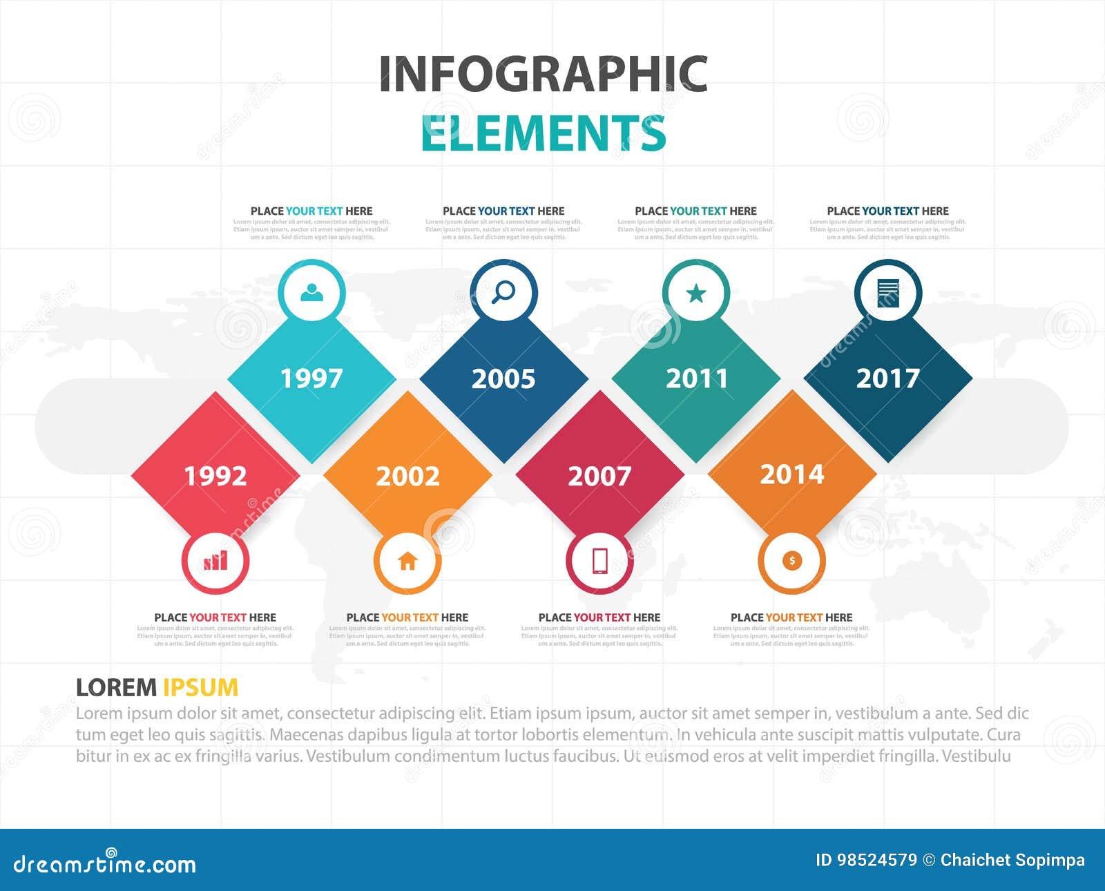 企业Infographic时间安排过程模板,五颜六色的横幅正文框designfor介绍,工作流图的介绍