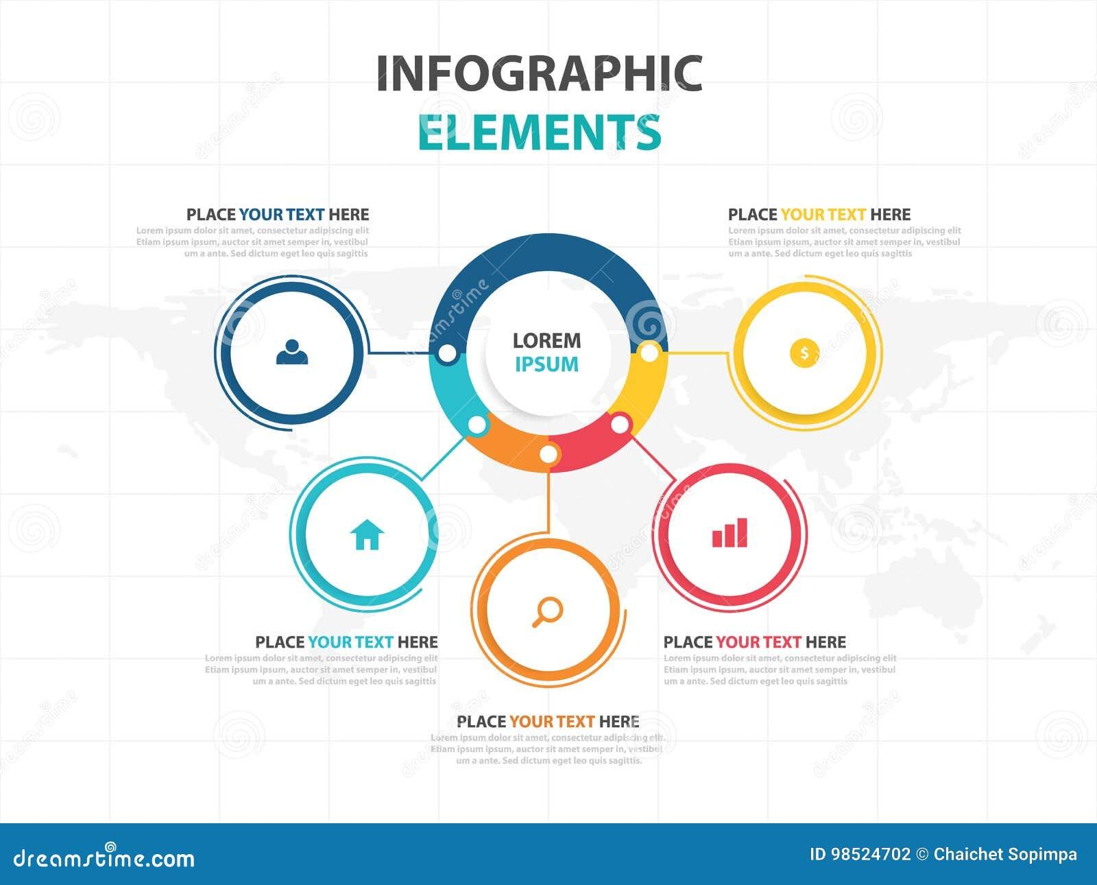 企业Infographic时间安排过程模板,五颜六色的横幅