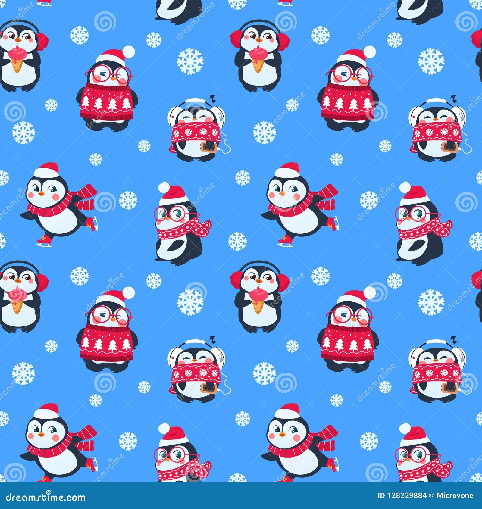 企鹅无缝的样式 与滑稽的小企鹅的逗人喜爱的圣诞节包裹 寒假传染媒介纺织品背景