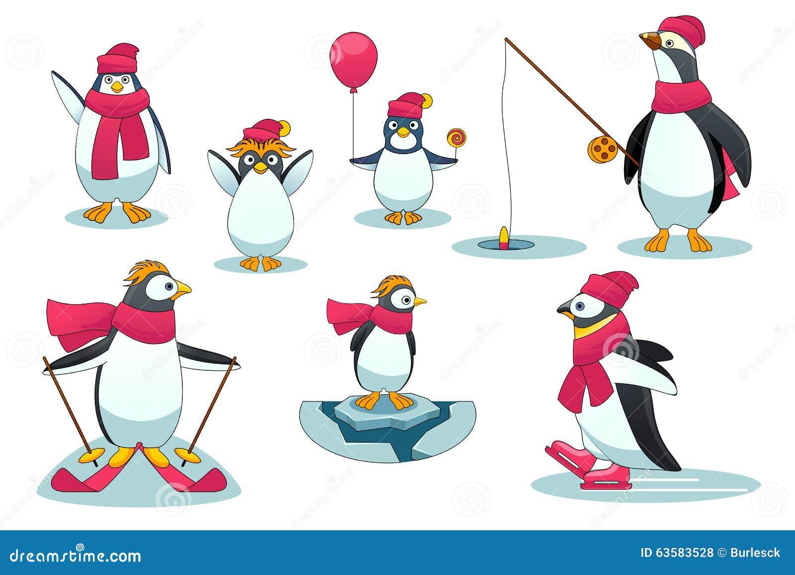 企鹅用不同的情况 与标尺渔,滑雪和滑冰的字符极性野生哺乳动物 在图片