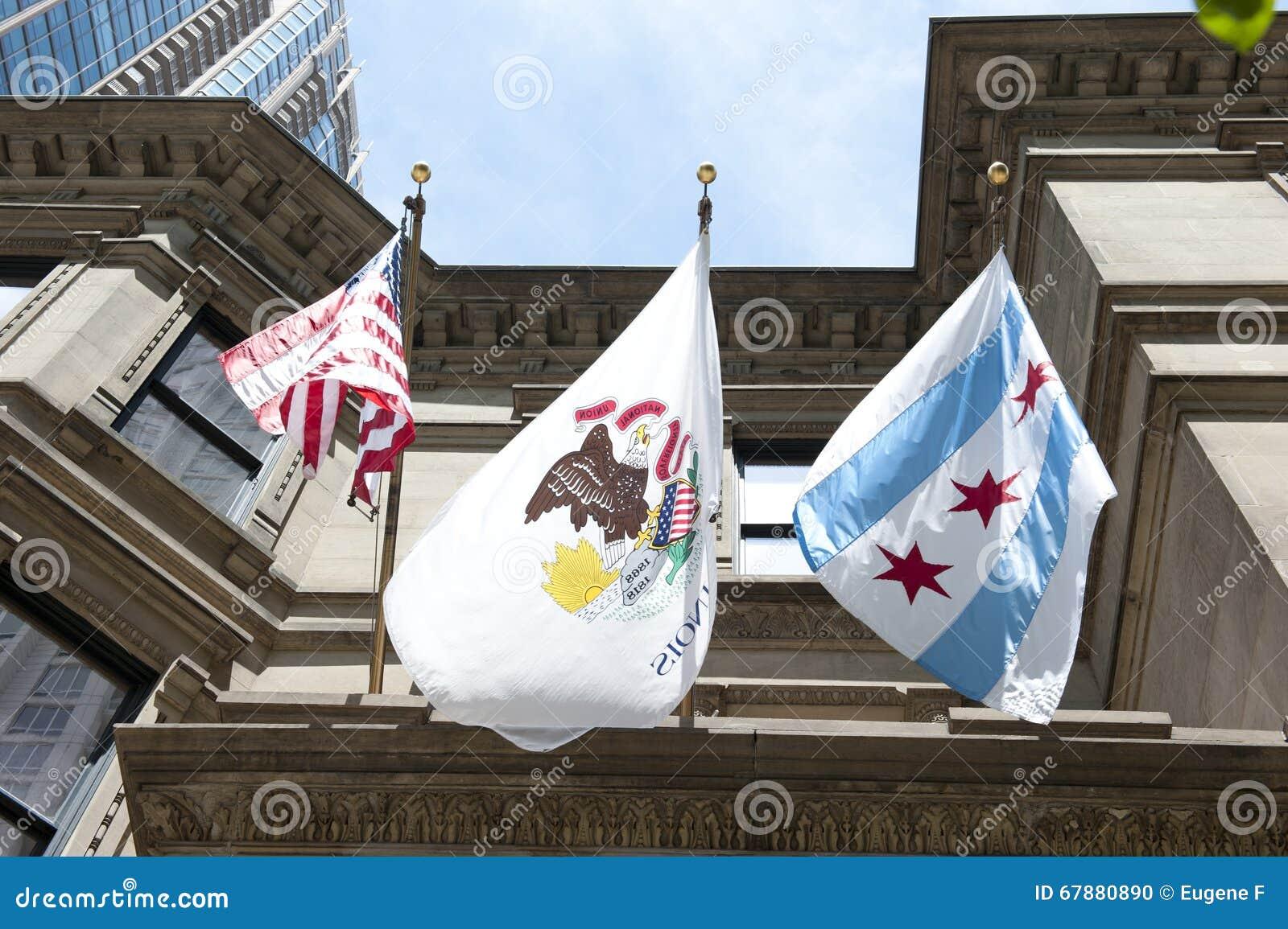 伊利诺伊状态象征和芝加哥旗子