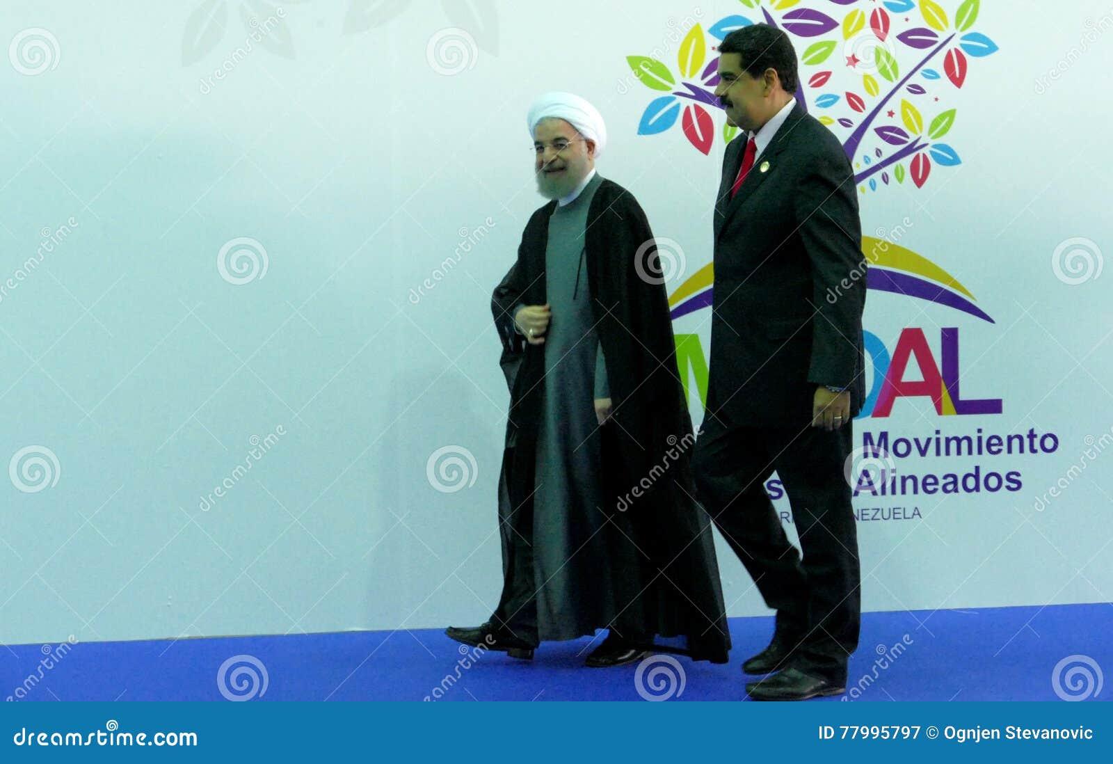 伊朗总统哈桑鲁哈尼和委内瑞拉总统尼古拉斯・马杜罗