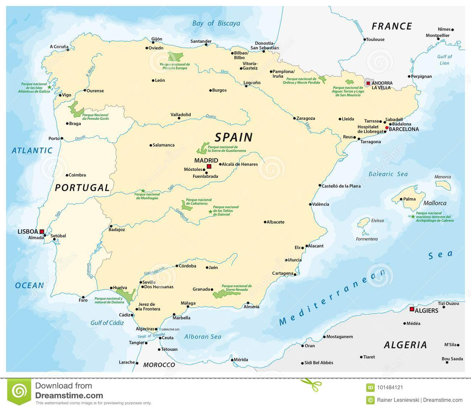 伊比利亚半岛的地图