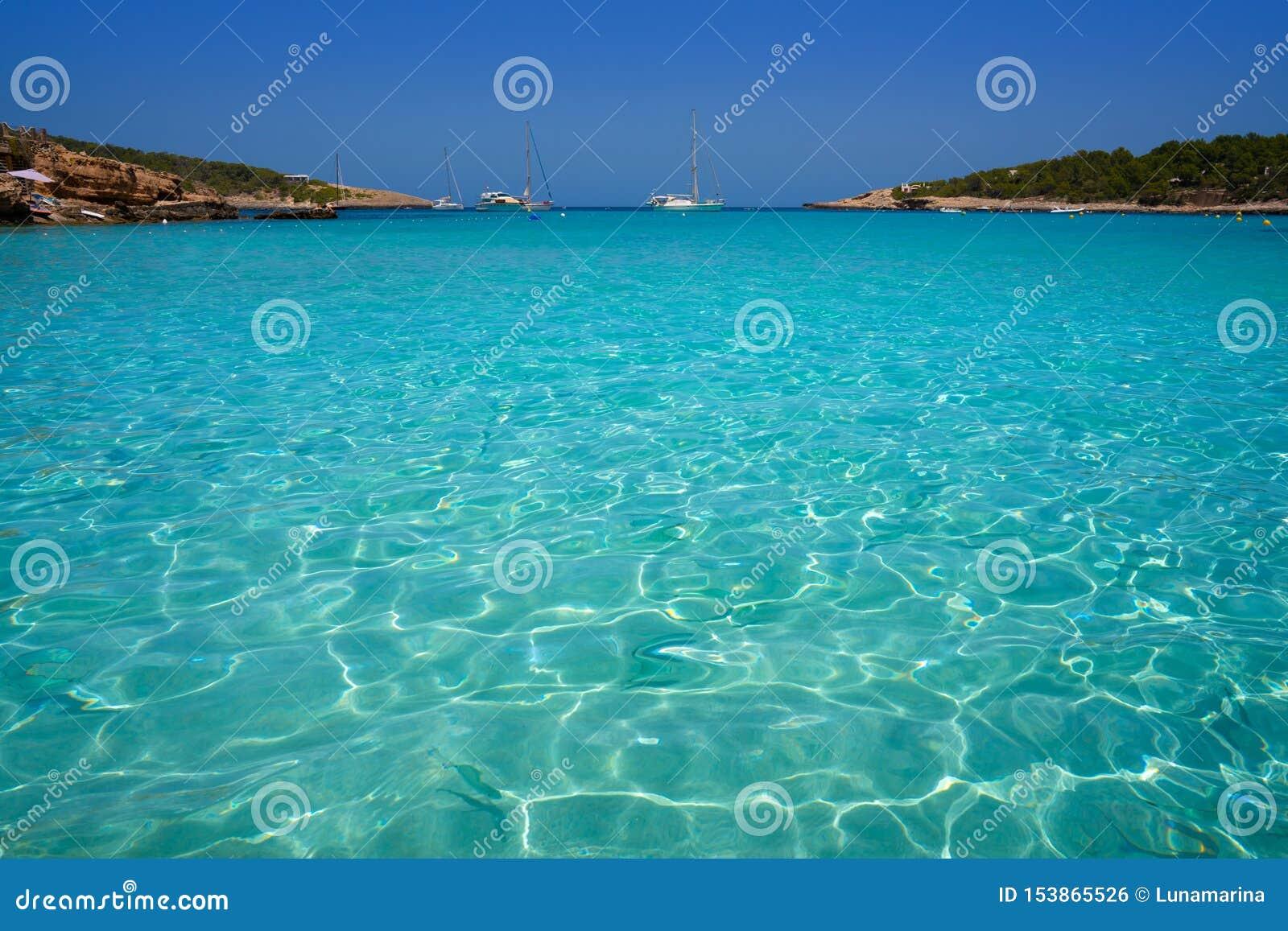 伊维萨岛Portinatx阿雷纳尔小的海滩在Balearics
