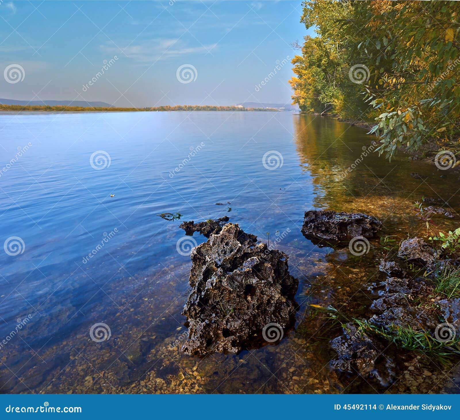 从伏尔加河的岸的看法