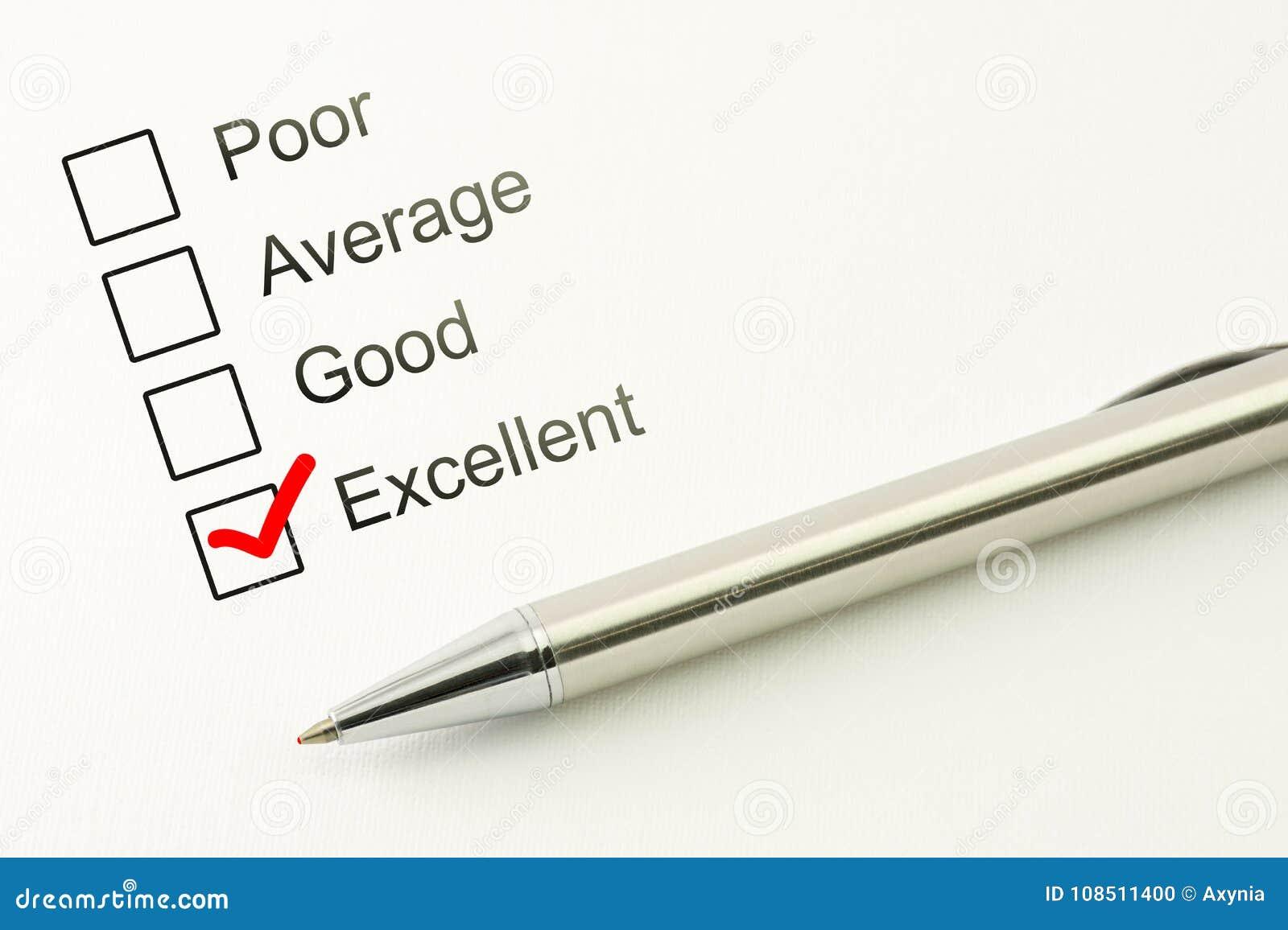 优秀顾客服务反馈 消费者满意程度概念 与一支笔的明显的复选框在纸背景