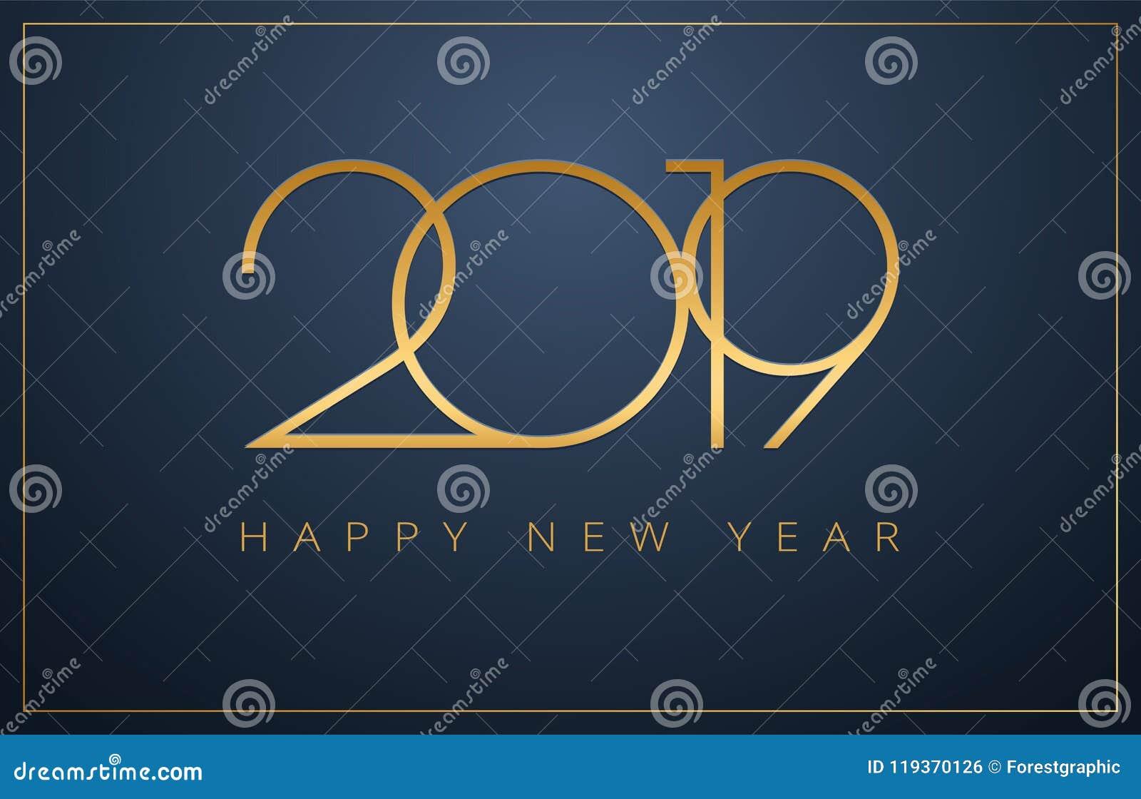 优等的2019年新年快乐背景 Christm的金黄设计