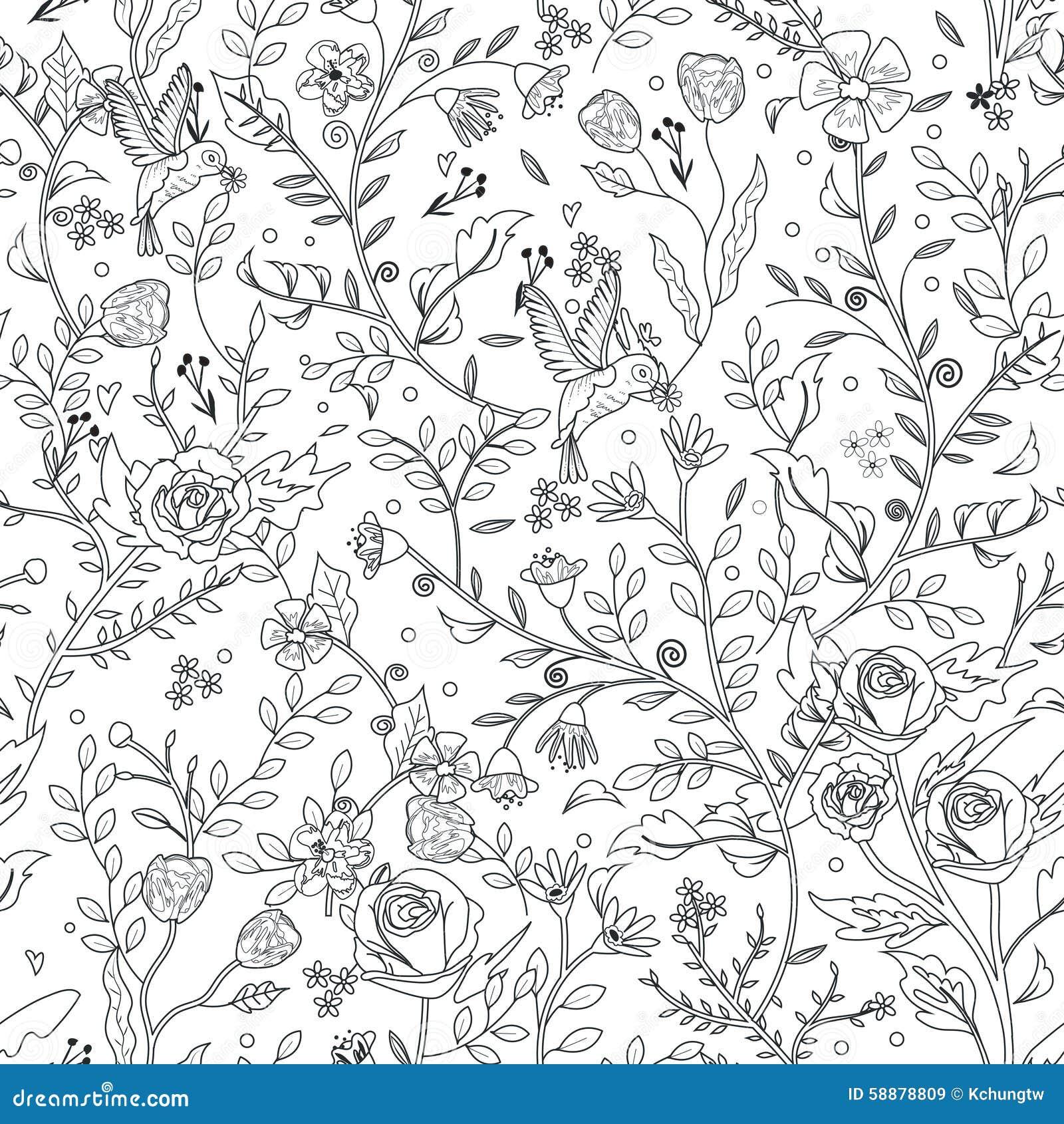 优美的无缝的花卉样式着色页