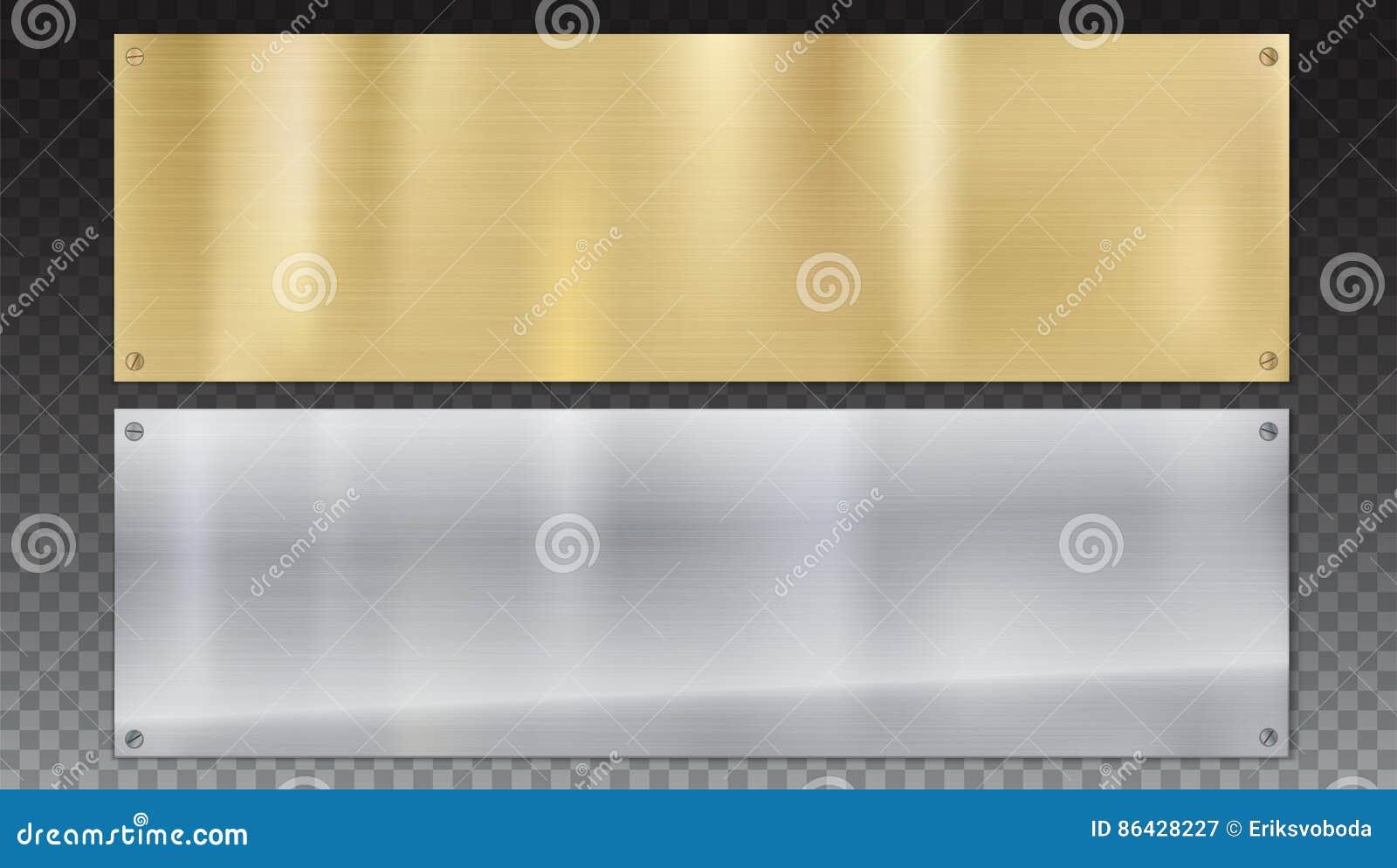 优美的金属板横幅有螺丝的 与金属纹理的优美的金属背景在透明背景
