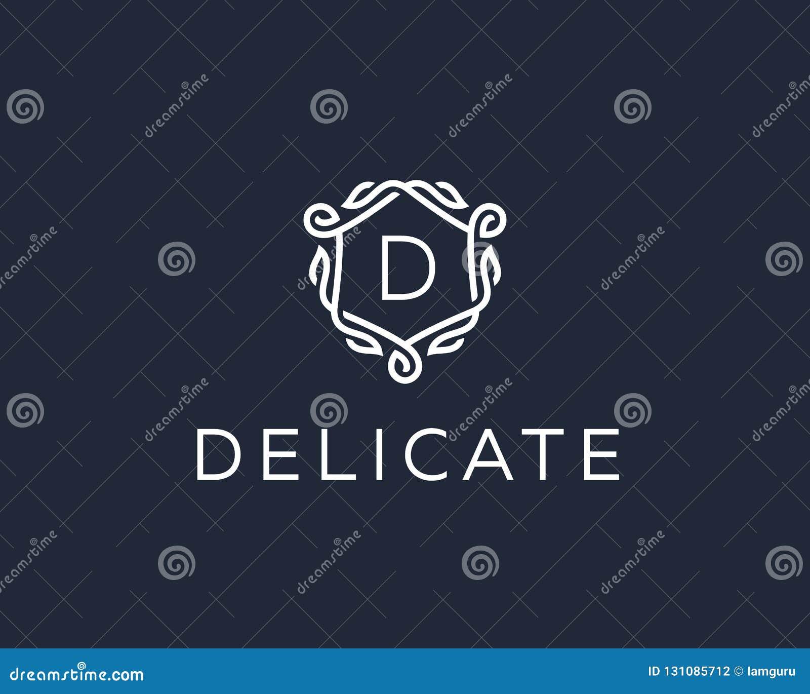 优质线性盾组合图案信件D略写法 典雅的冠叶子邮票象传染媒介商标 豪华字母表框架