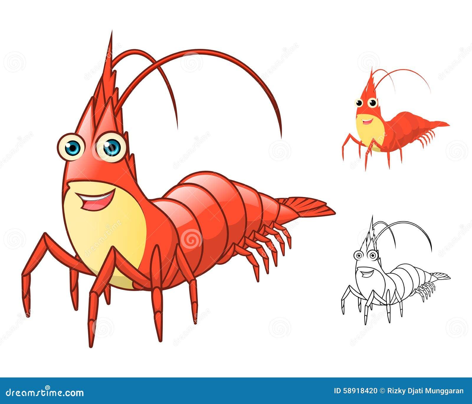 详细的虾漫画人物包括平的设计和线艺术版本.