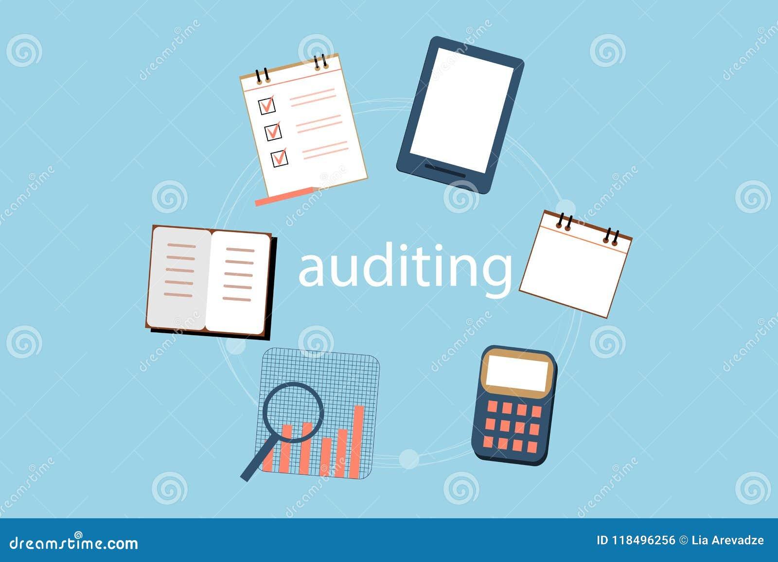 会计、税、审计、演算、数据分析和报告概念 例证平的设计