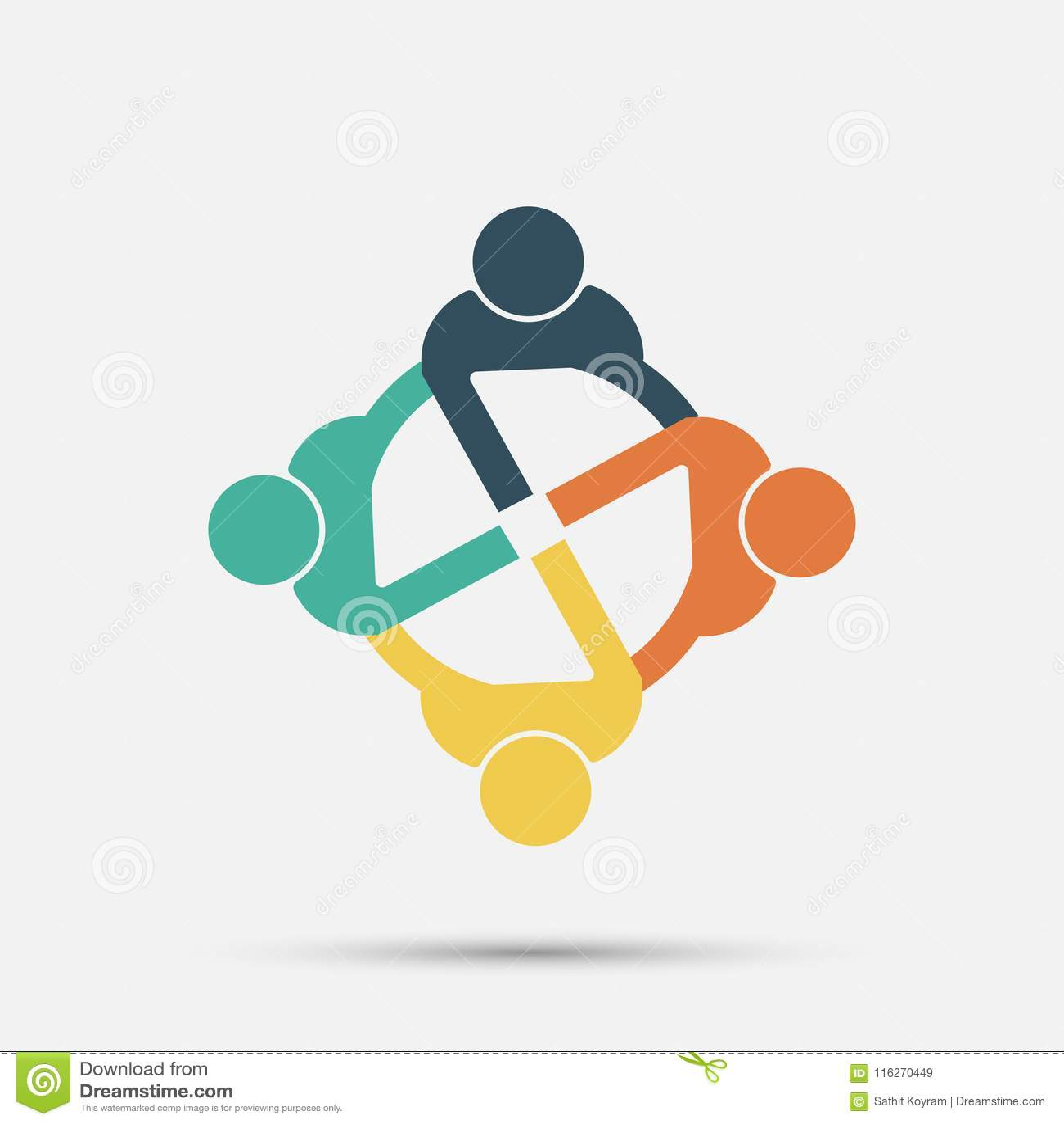 会议室人商标 小组圈子的四个人