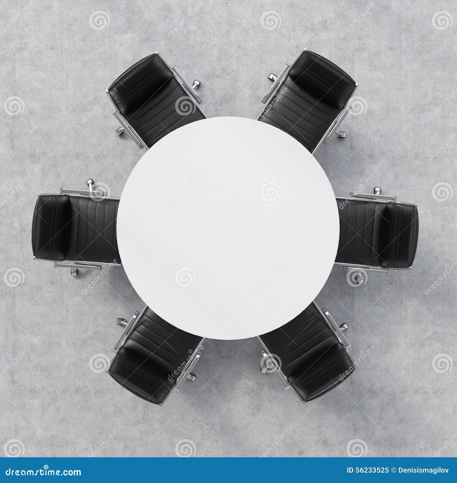 会议室的顶视图 白色圆桌和六把椅子 办公室内部 3d翻译