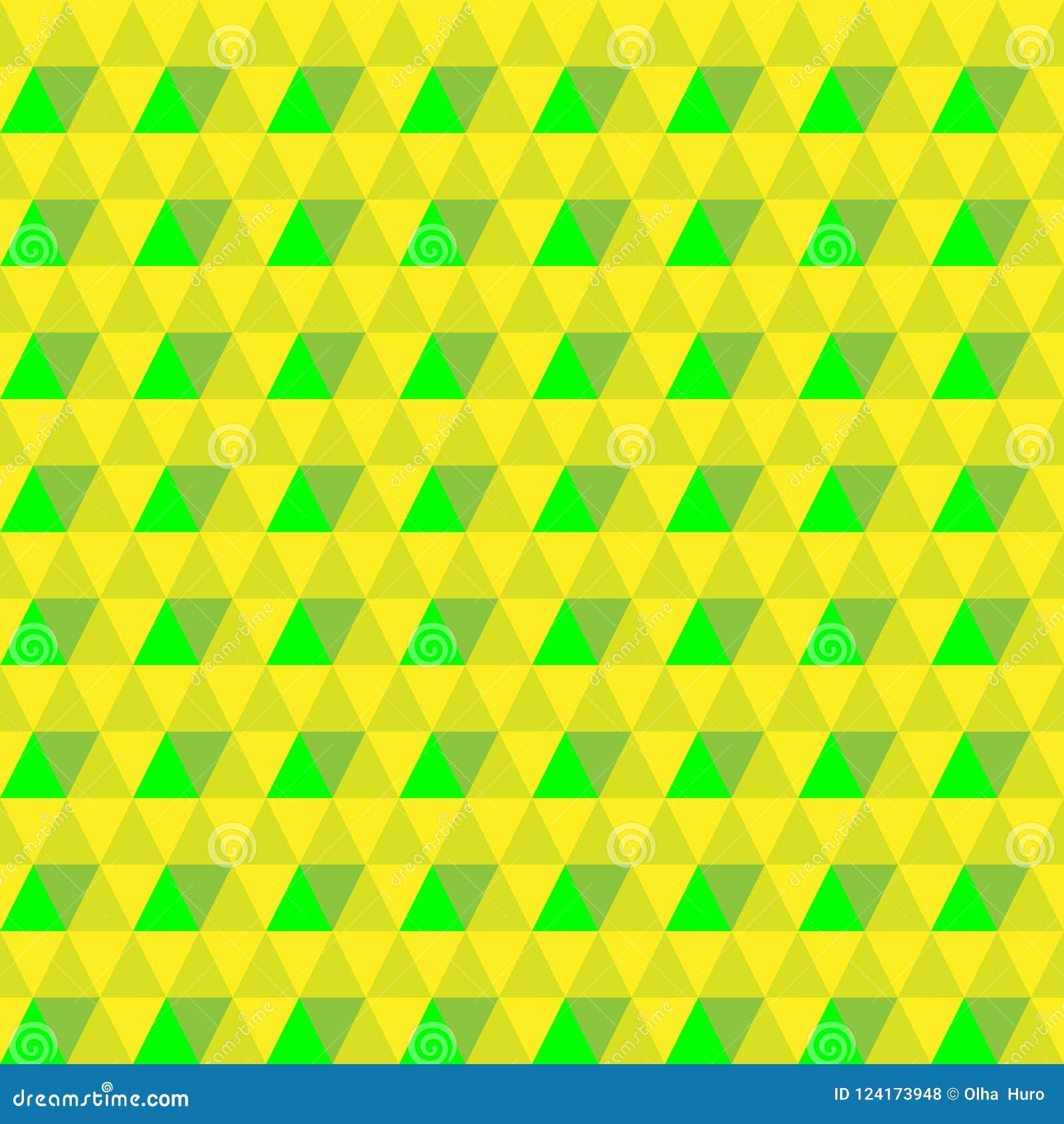 传染媒介三角黄绿色无缝的背景 几何的背景