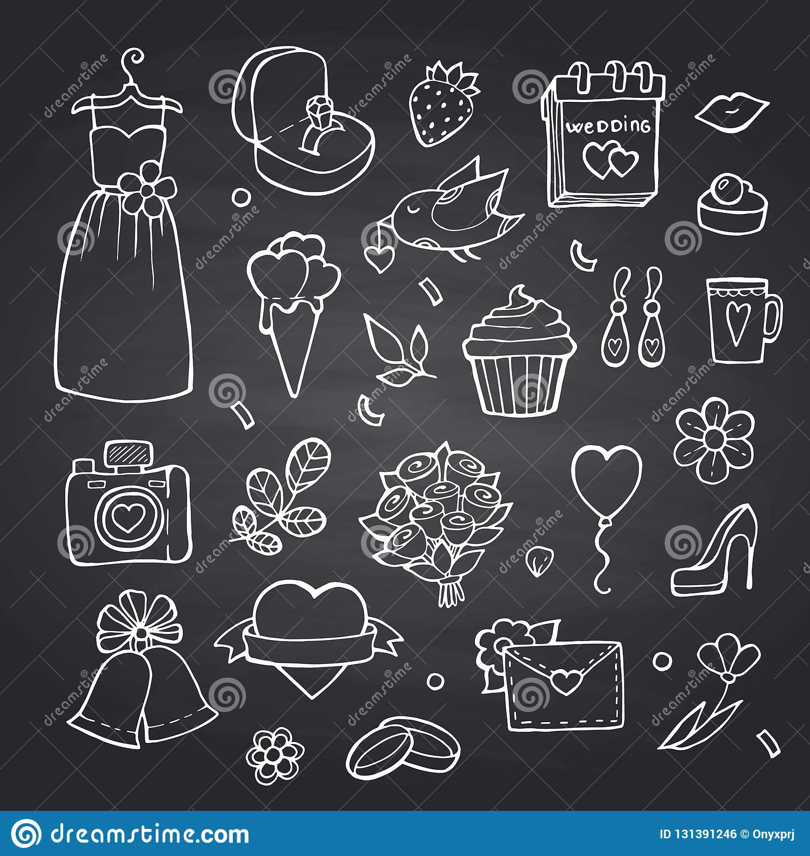 传染媒介乱画婚礼在黑黑板背景例证的元素集
