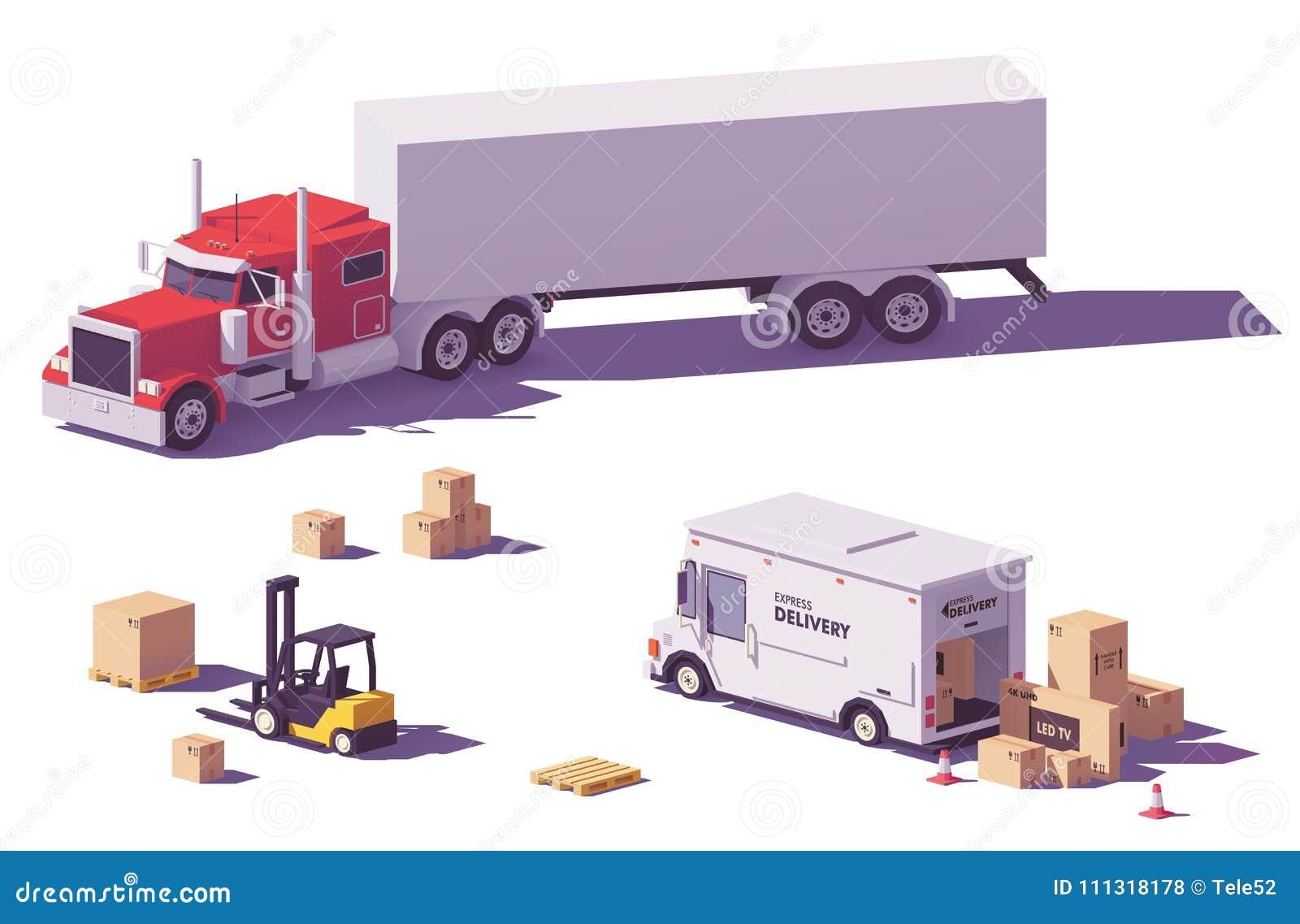 传染媒介低多卡车和铲车