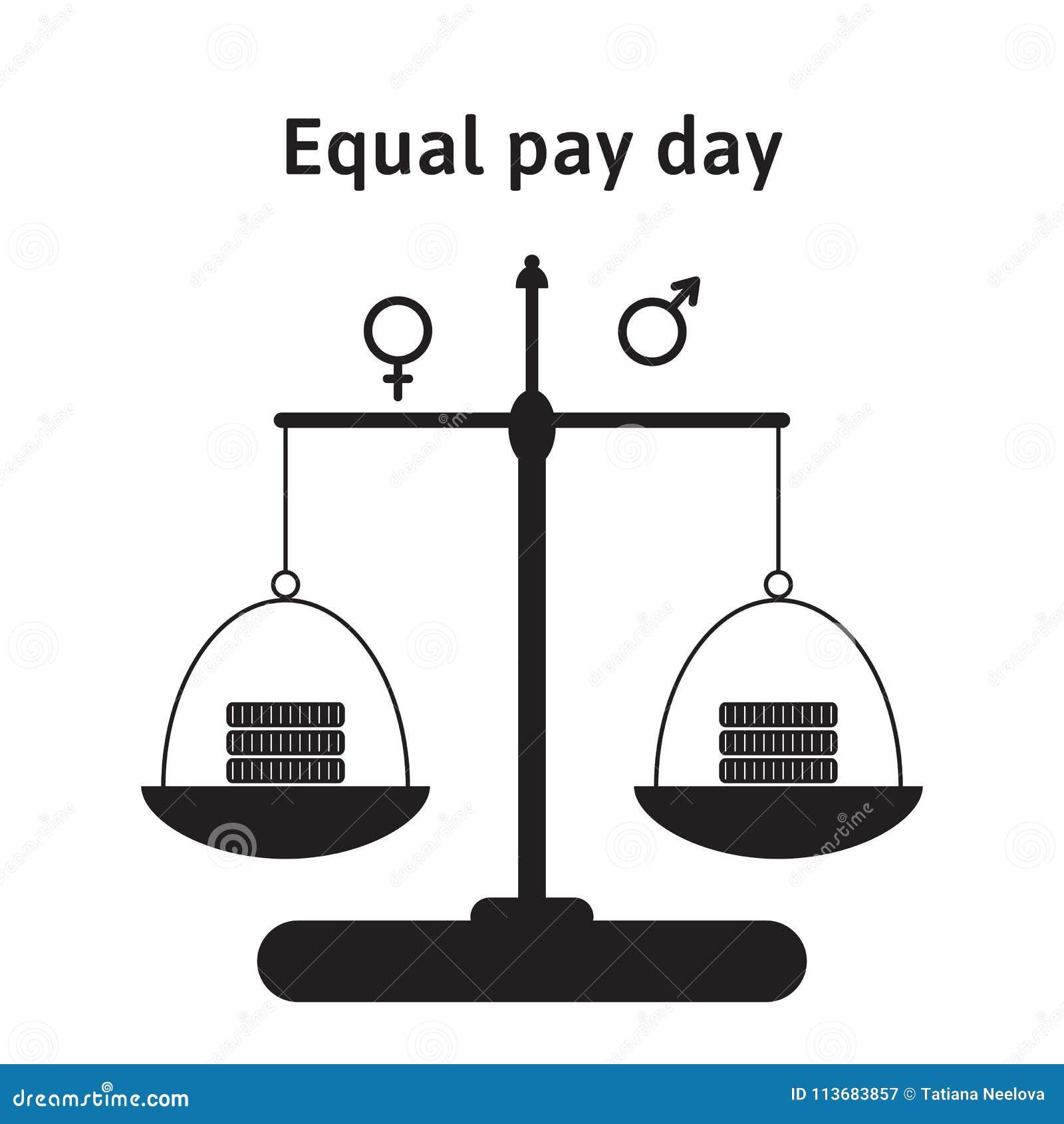 传染媒介例证为等额支付天在4月 看待在男人和妇女之间的薪水不平等的更正 金钱,硬币o