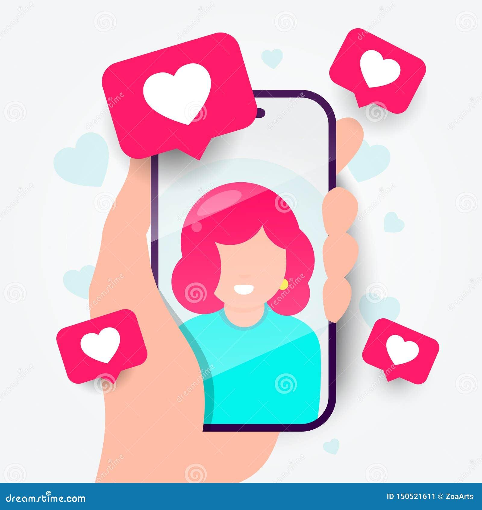 传染媒介例证在电话的约会应用程序 网上通信和连接 搜寻浪漫关系