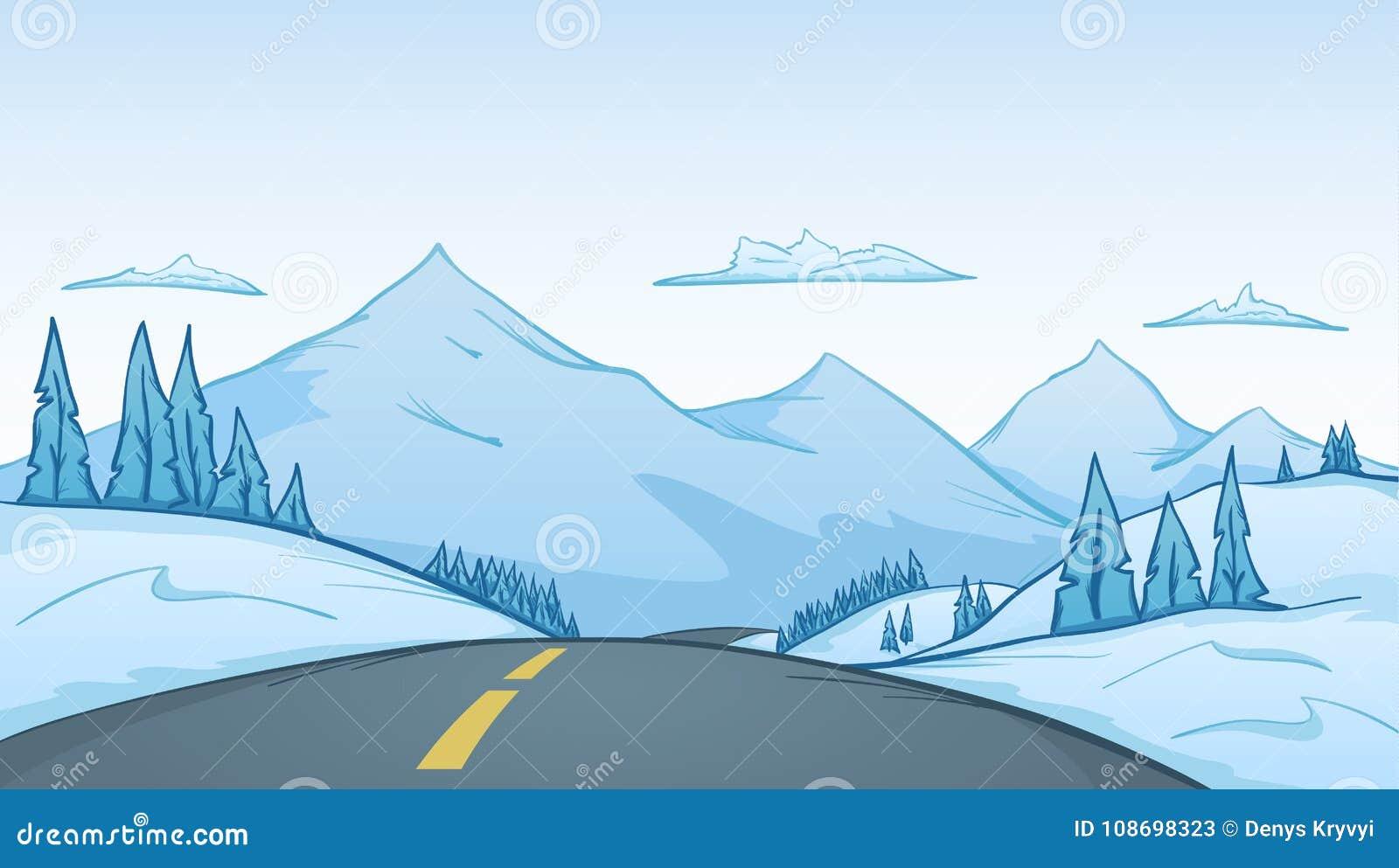 传染媒介例证:与路在前景和山的手拉的动画片冬天风景在背景