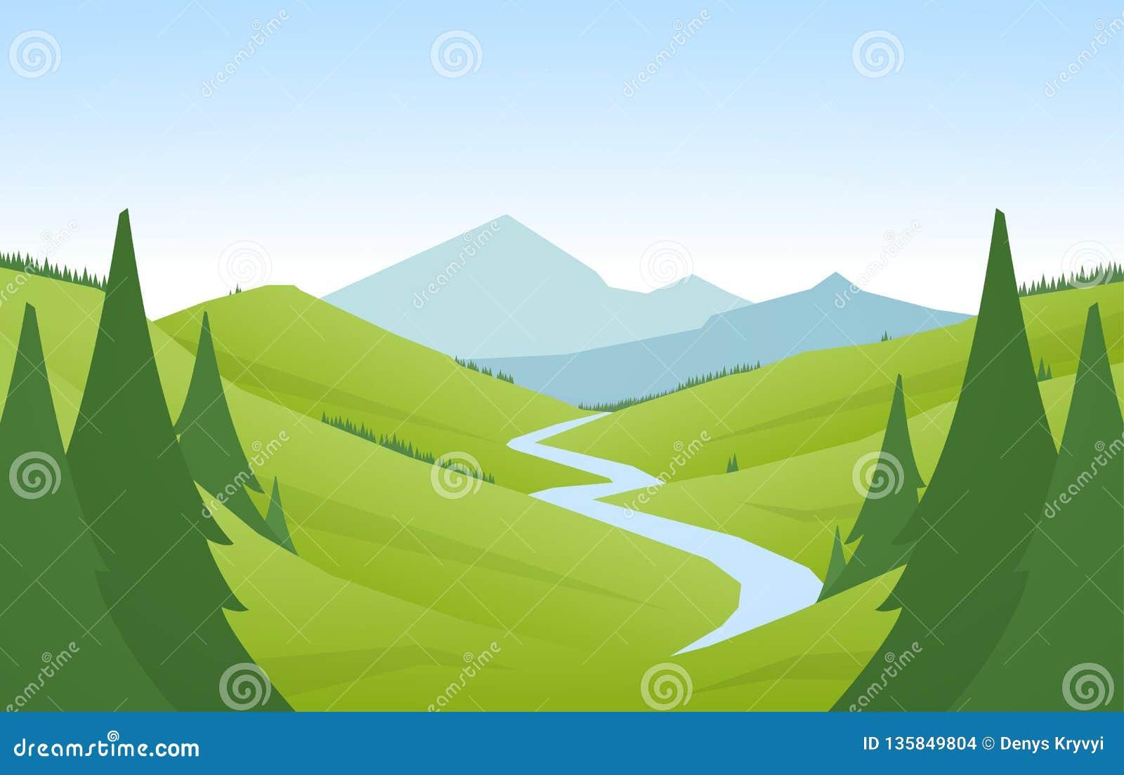 传染媒介例证:动画片平的夏天山环境美化与青山、杉木森林和河