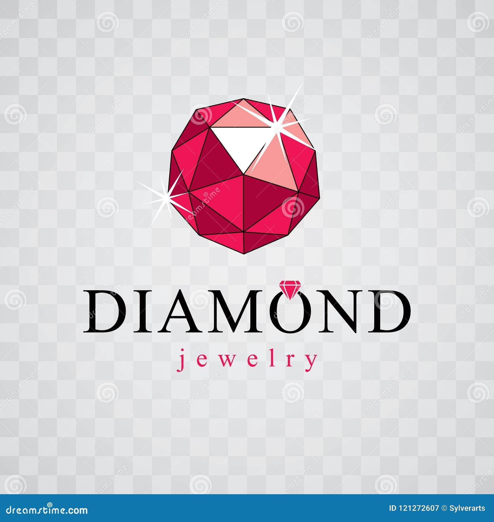 传染媒介典雅的闪耀的宝石 雕琢平面的宝石标志象征, illu