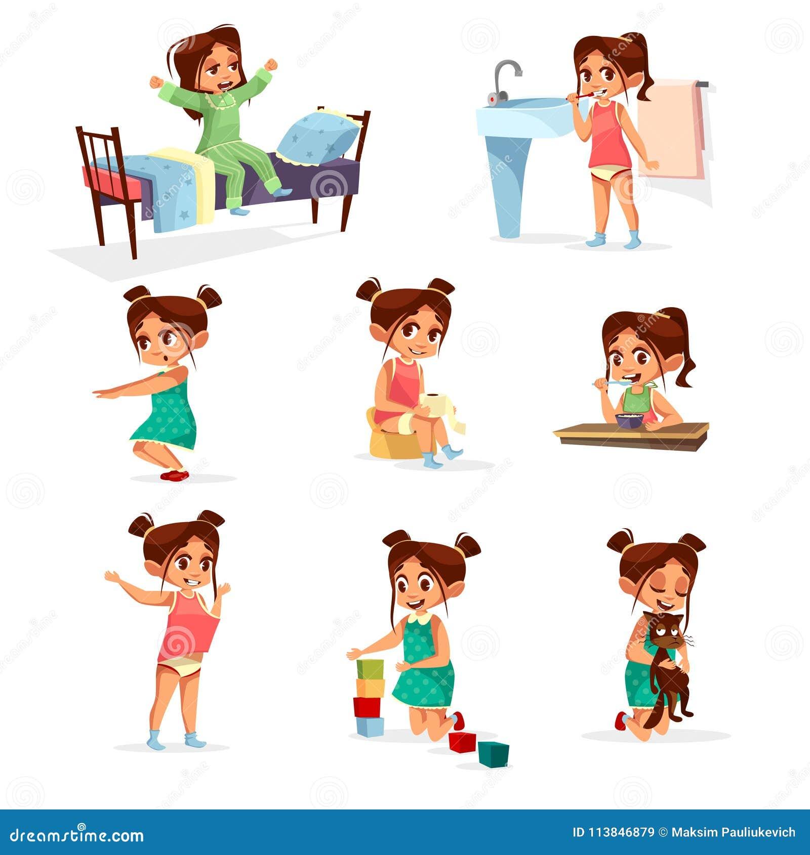 传染媒介动画片女孩每日定期活动集合