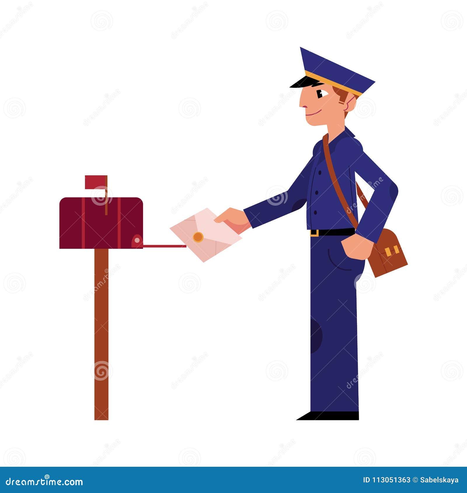 传染媒介动画片邮差邮递员字符信件图片
