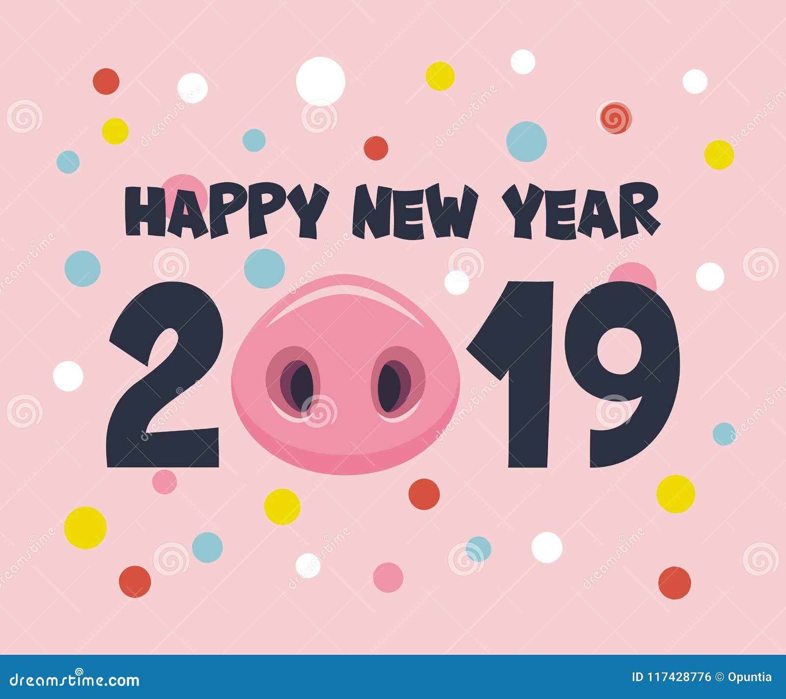传染媒介卡片新年快乐2019年 库存例证. 插画 包括有 看板卡, 12月, 汉语, 问候, 节假日, 鼻子