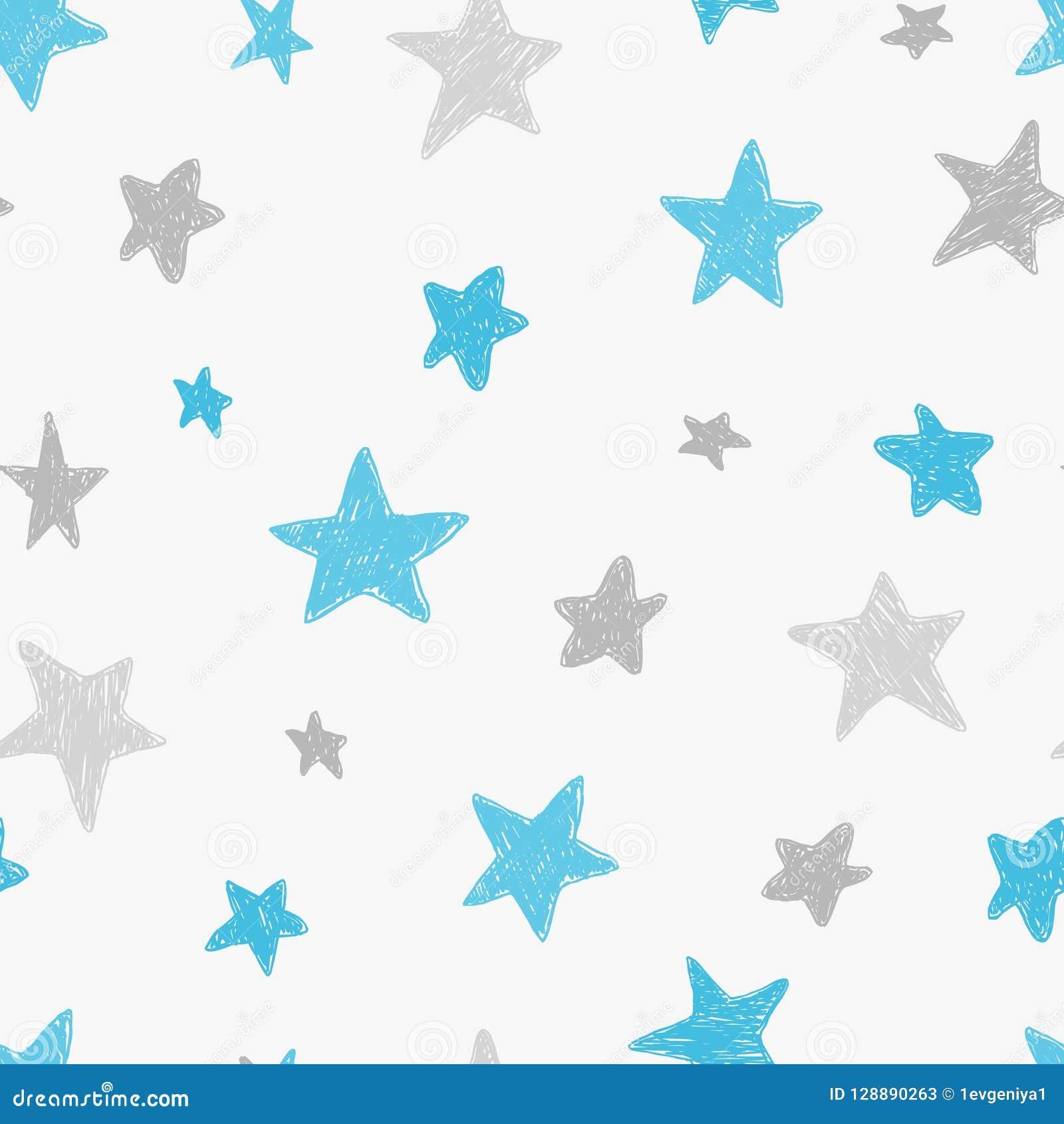 传染媒介哄骗与乱画被构造的星的样式 导航无缝的背景,蓝色,灰色,白色,斯堪的纳维亚样式,
