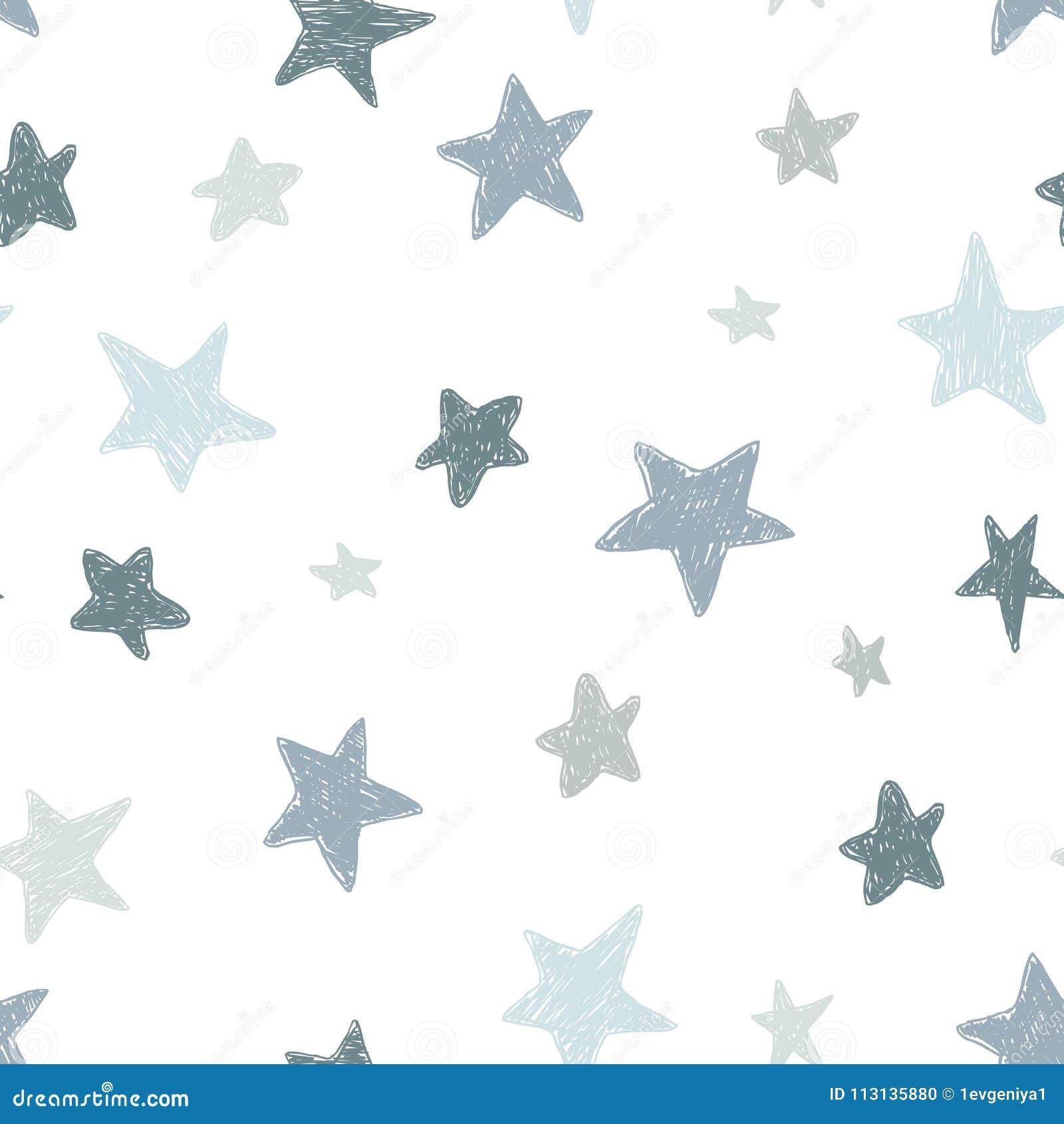 传染媒介哄骗与乱画被构造的星的样式 导航无缝的背景,黑色,灰色,白色,斯堪的纳维亚样式