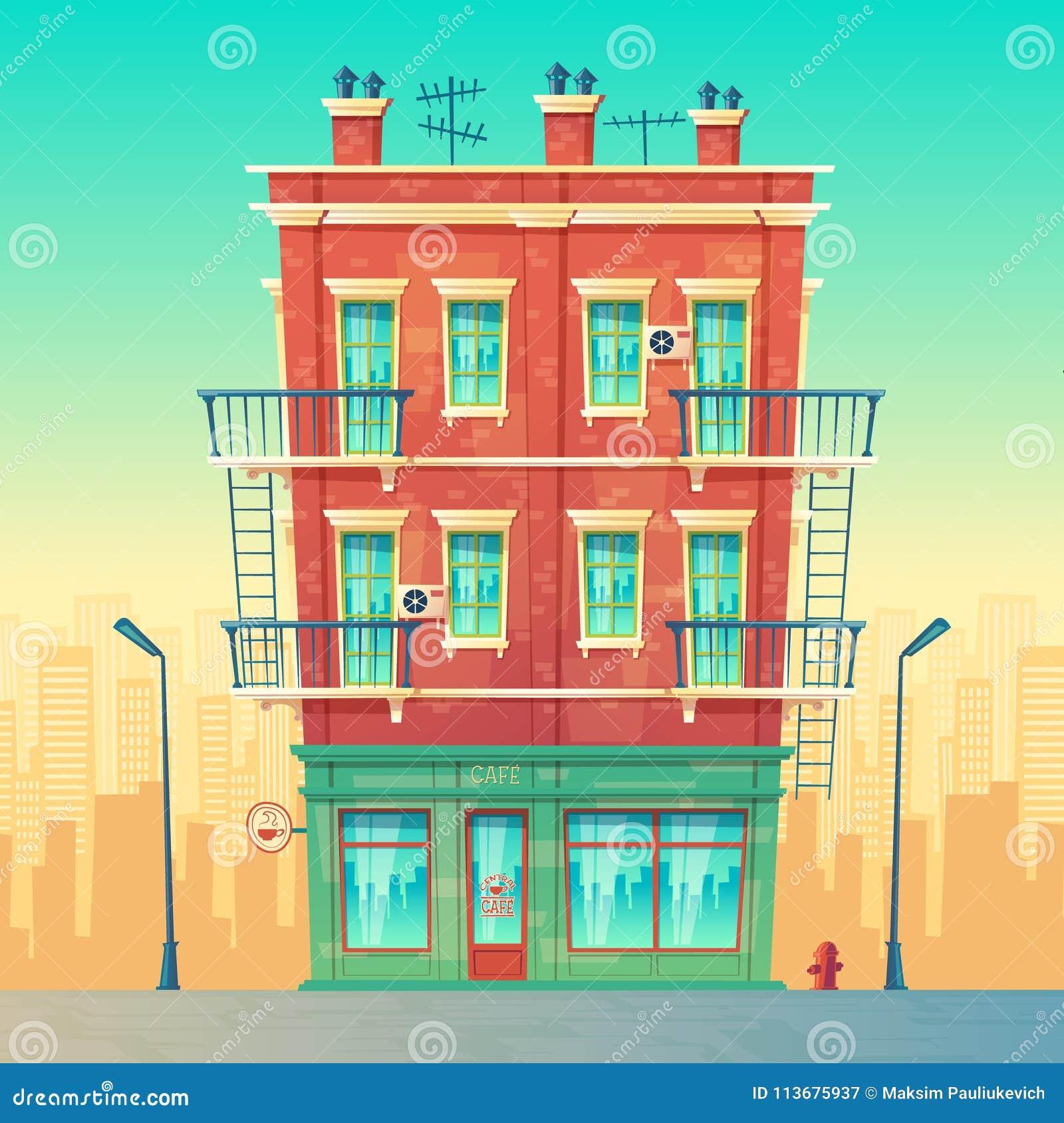 传染媒介在住宅多层的公寓的街道咖啡馆