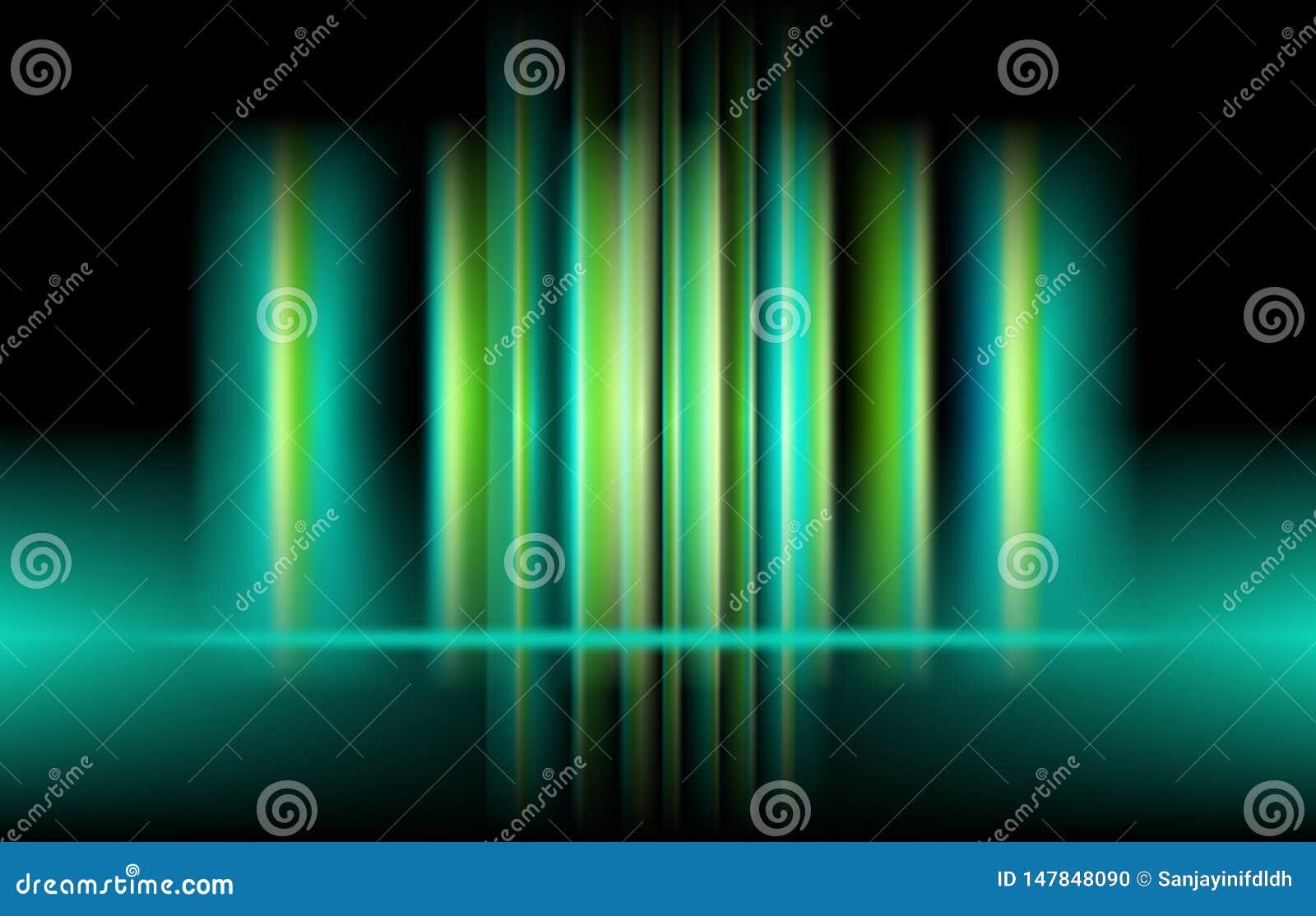 传染媒介垂直的极光绿色光 E
