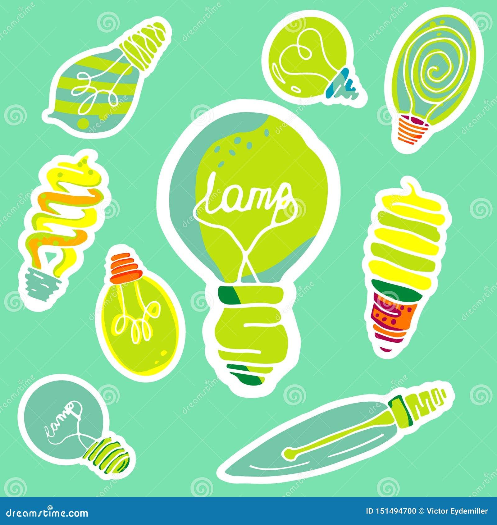 传染媒介套以电灯泡的形式贴纸