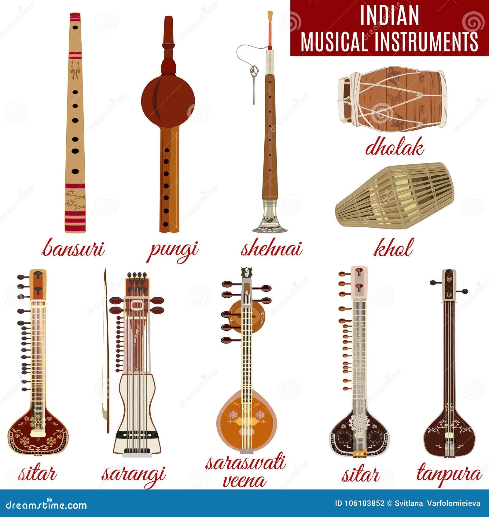 传染媒介套印地安乐器,平的样式
