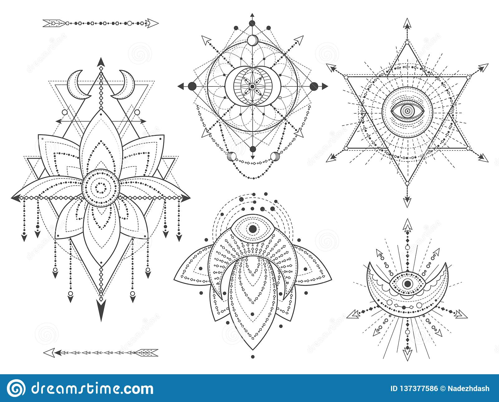 传染媒介套在白色背景的神圣的几何和自然标志 抽象神秘主义者签署汇集