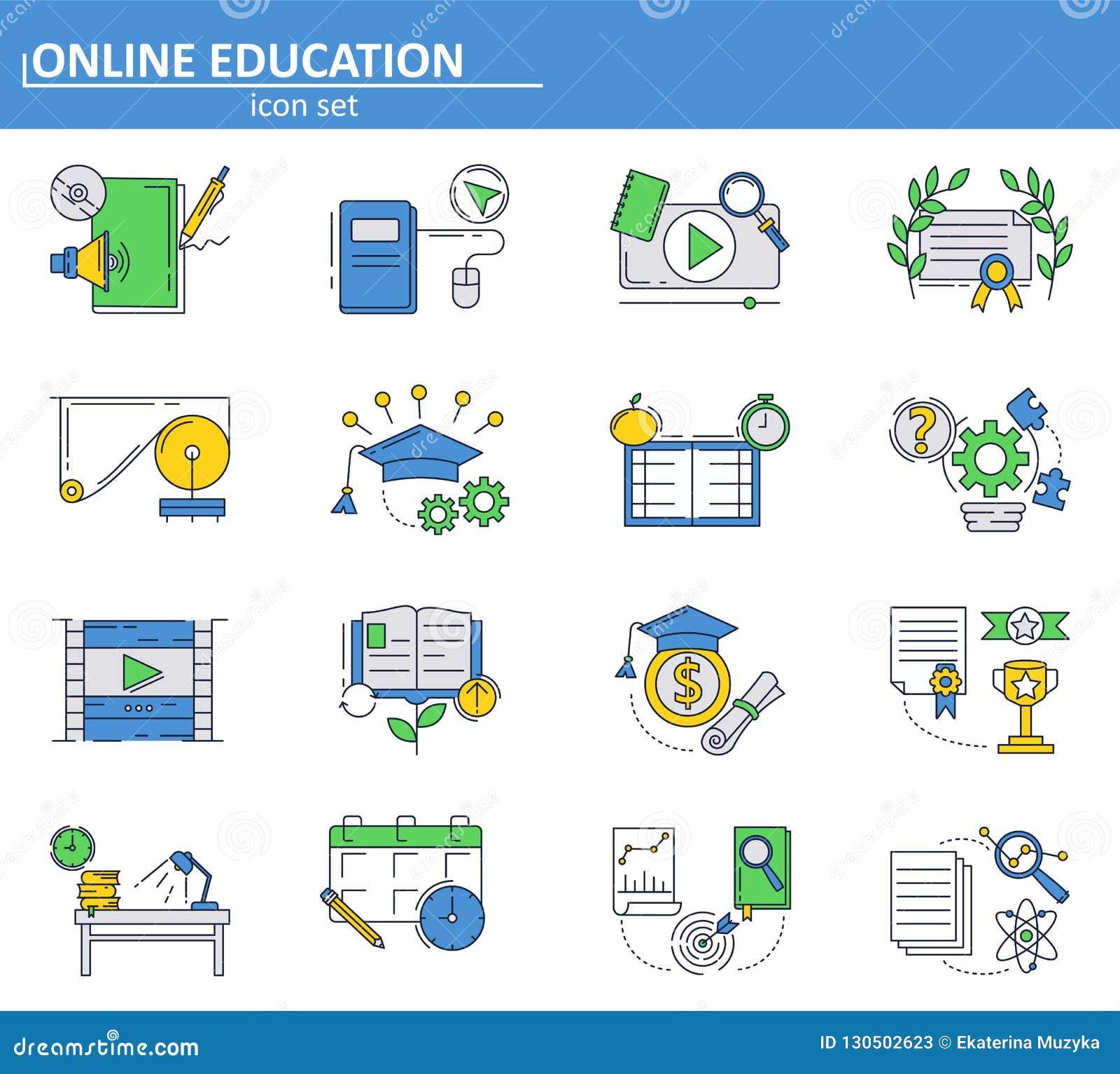 传染媒介套在稀薄的线型的网上教育象 学校和学院网上讲解和路线 电子教学