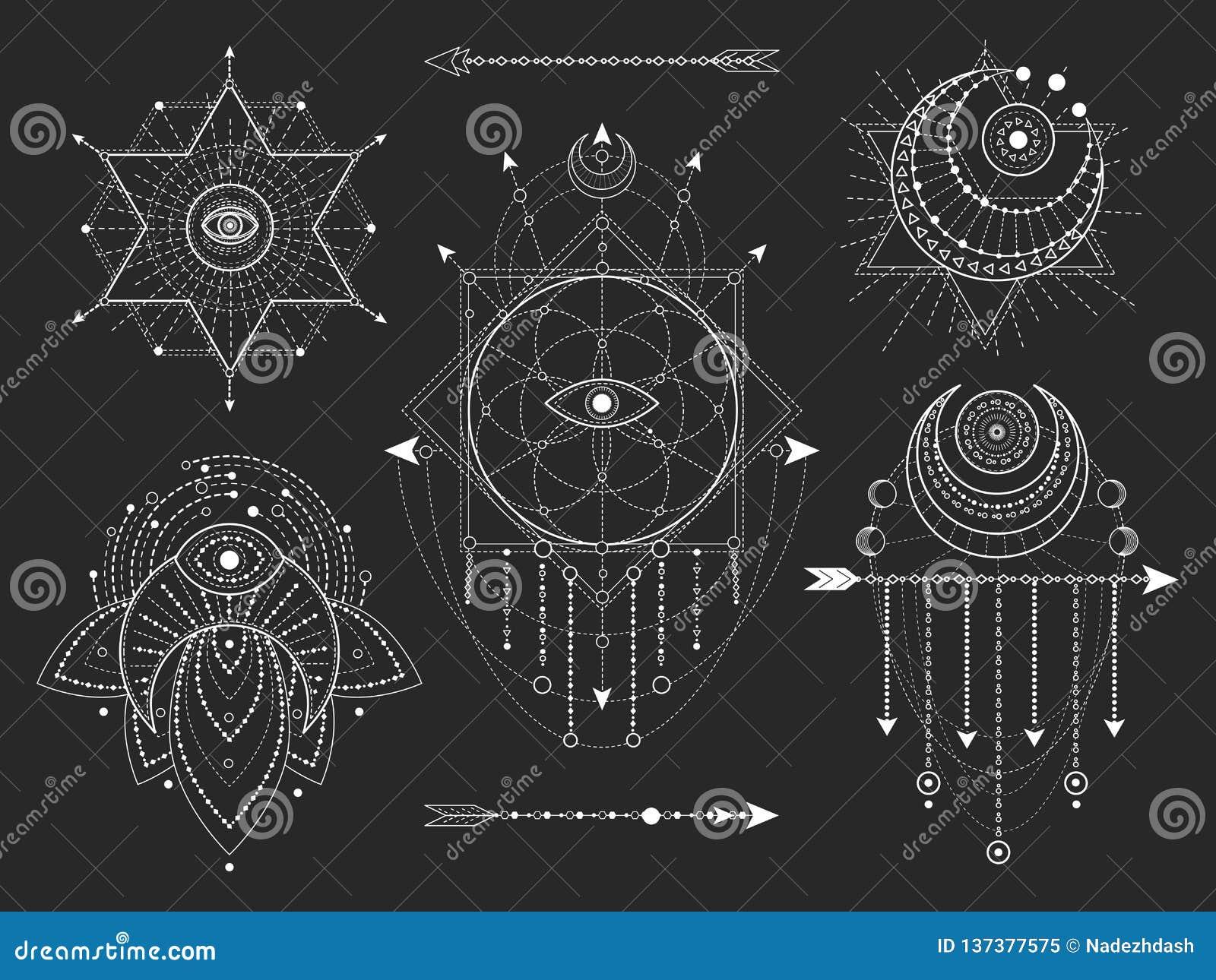 传染媒介套在黑背景的神圣的几何和自然标志 抽象神秘主义者签署汇集
